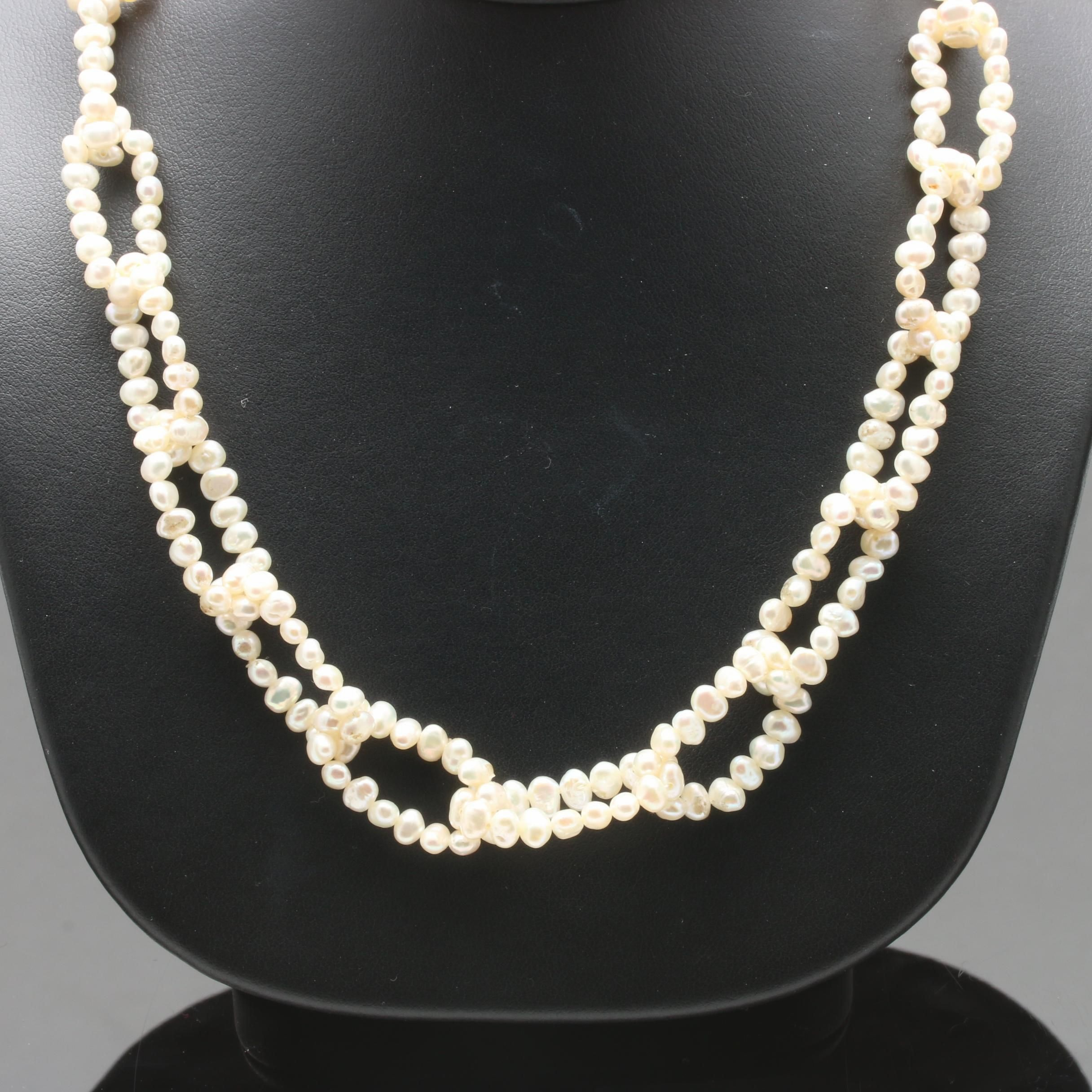 18K Yellow Gold Cultured Pearl, Diamond, Emerald and Ruby Necklace