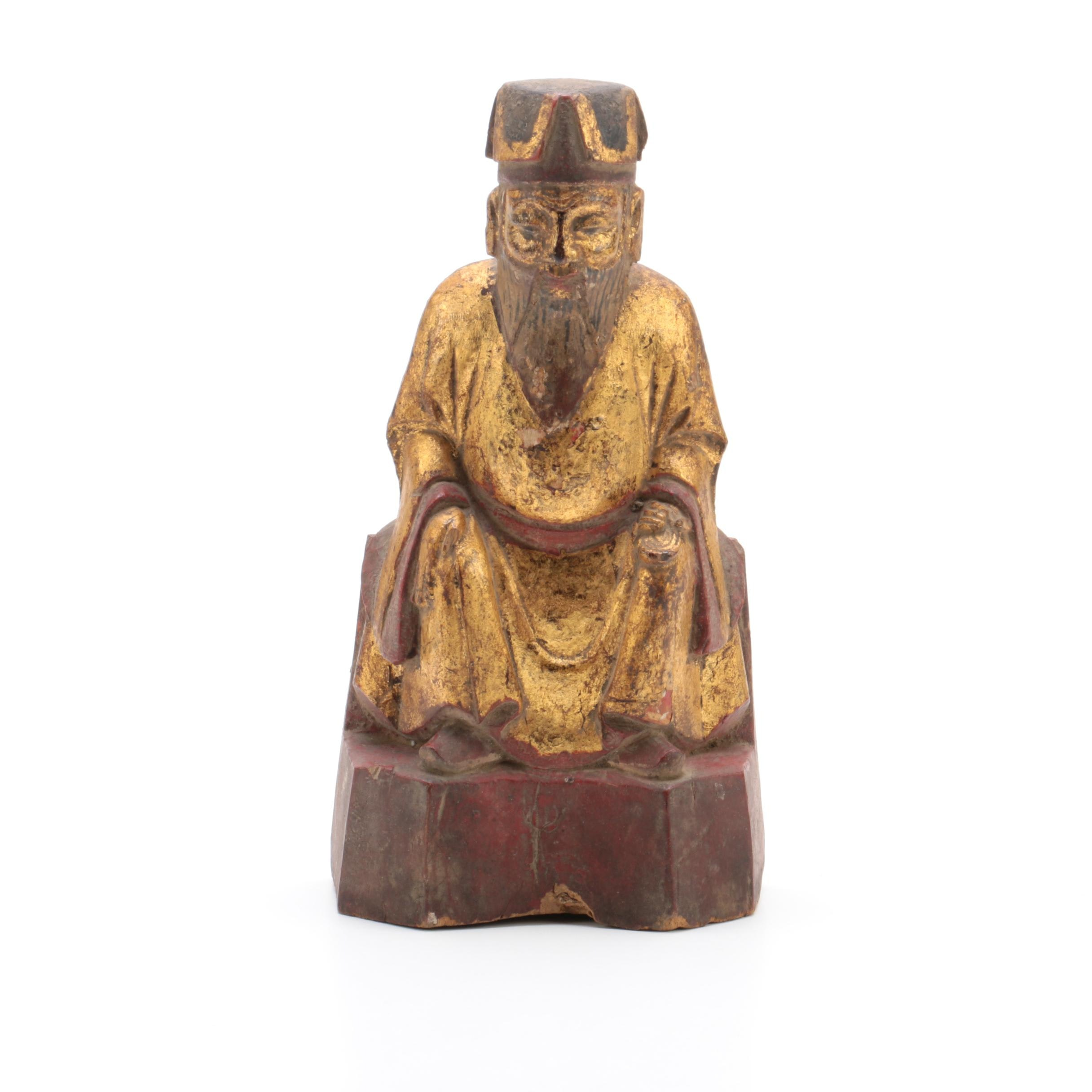 Carved Wood Seated Chinese Scholar-Official with Gilt Robes