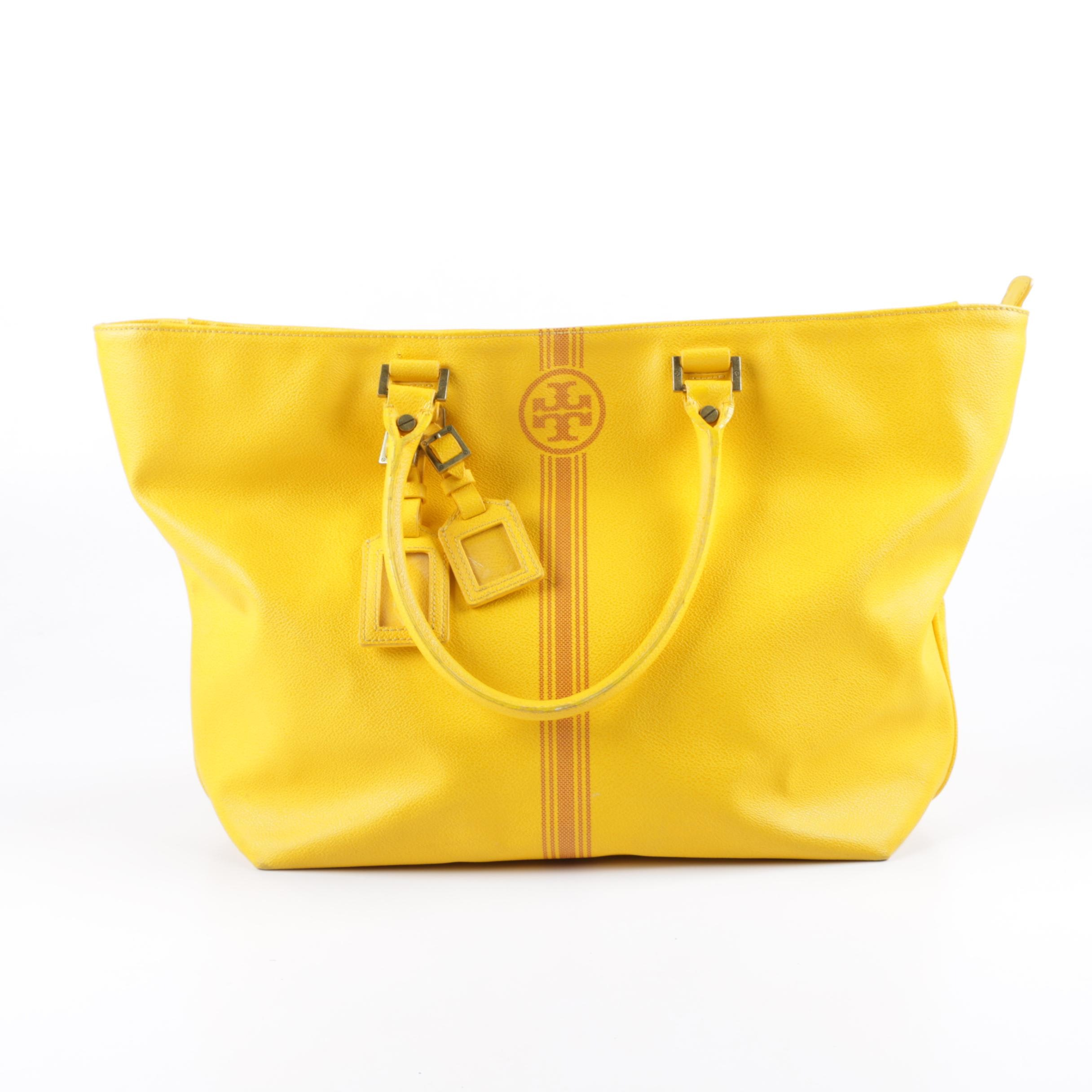 Tory Burch Roslyn Yellow Pebbled Leather Tote