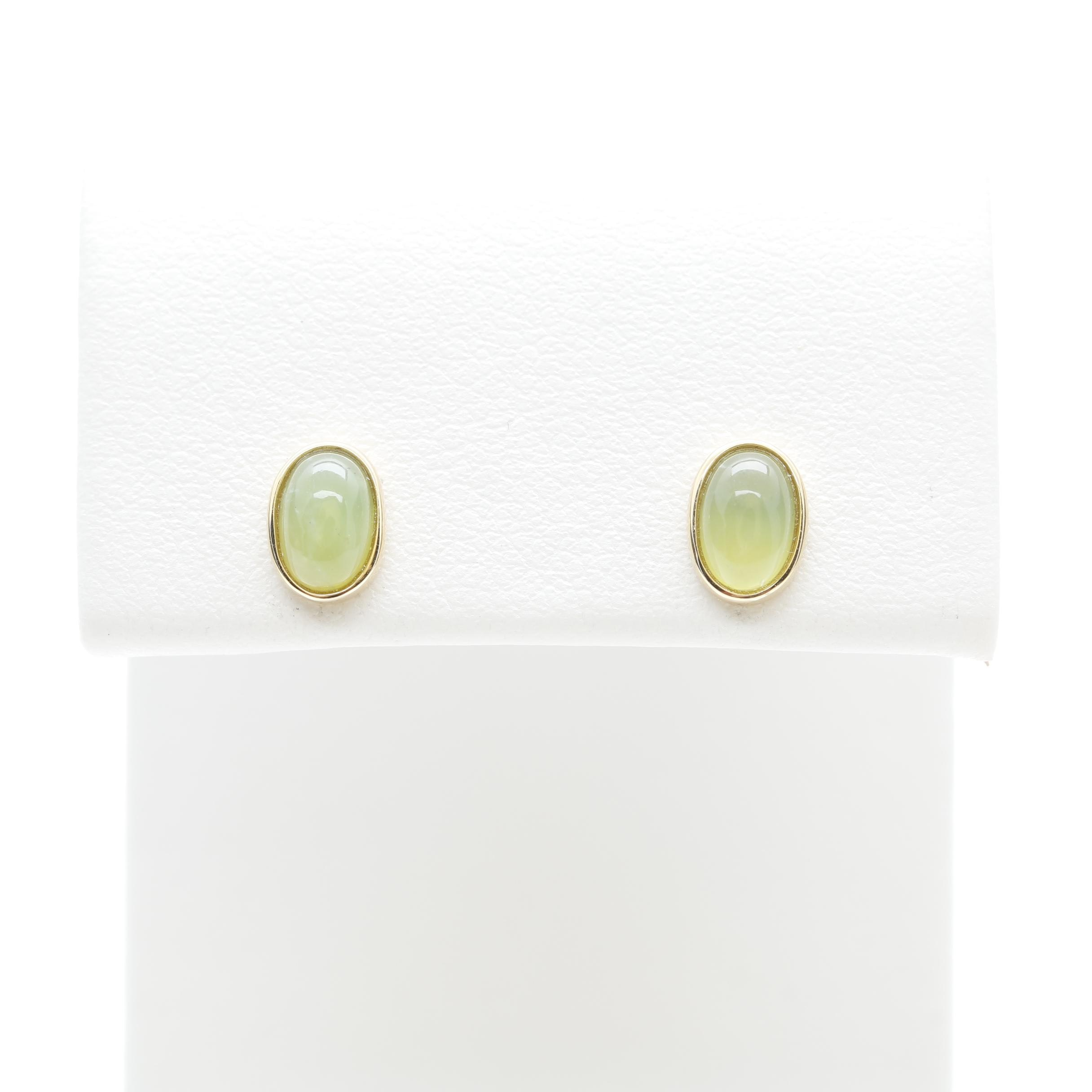 18K Yellow Gold Green Opal Stud Earrings