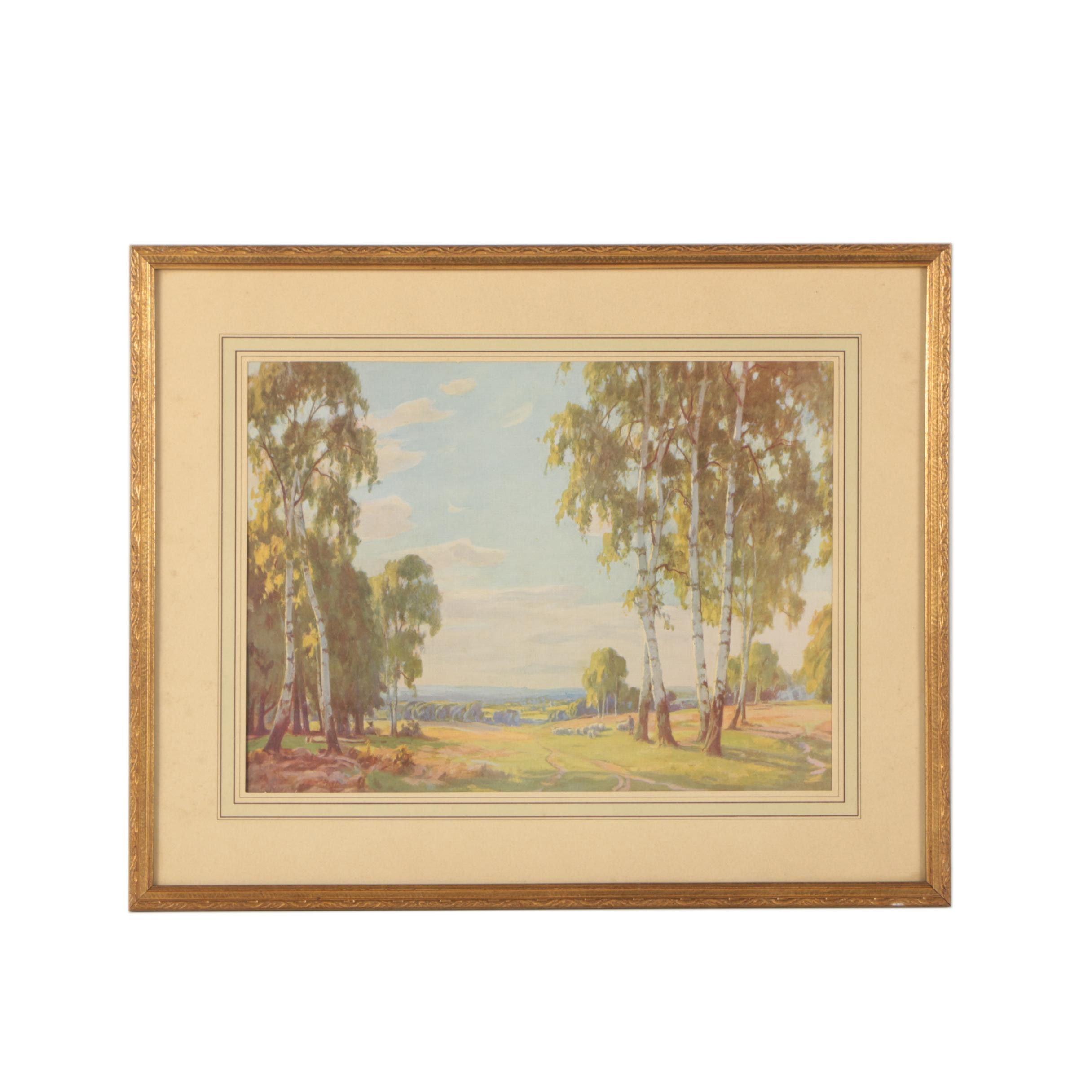 Offset Lithograph Print of a Landscape