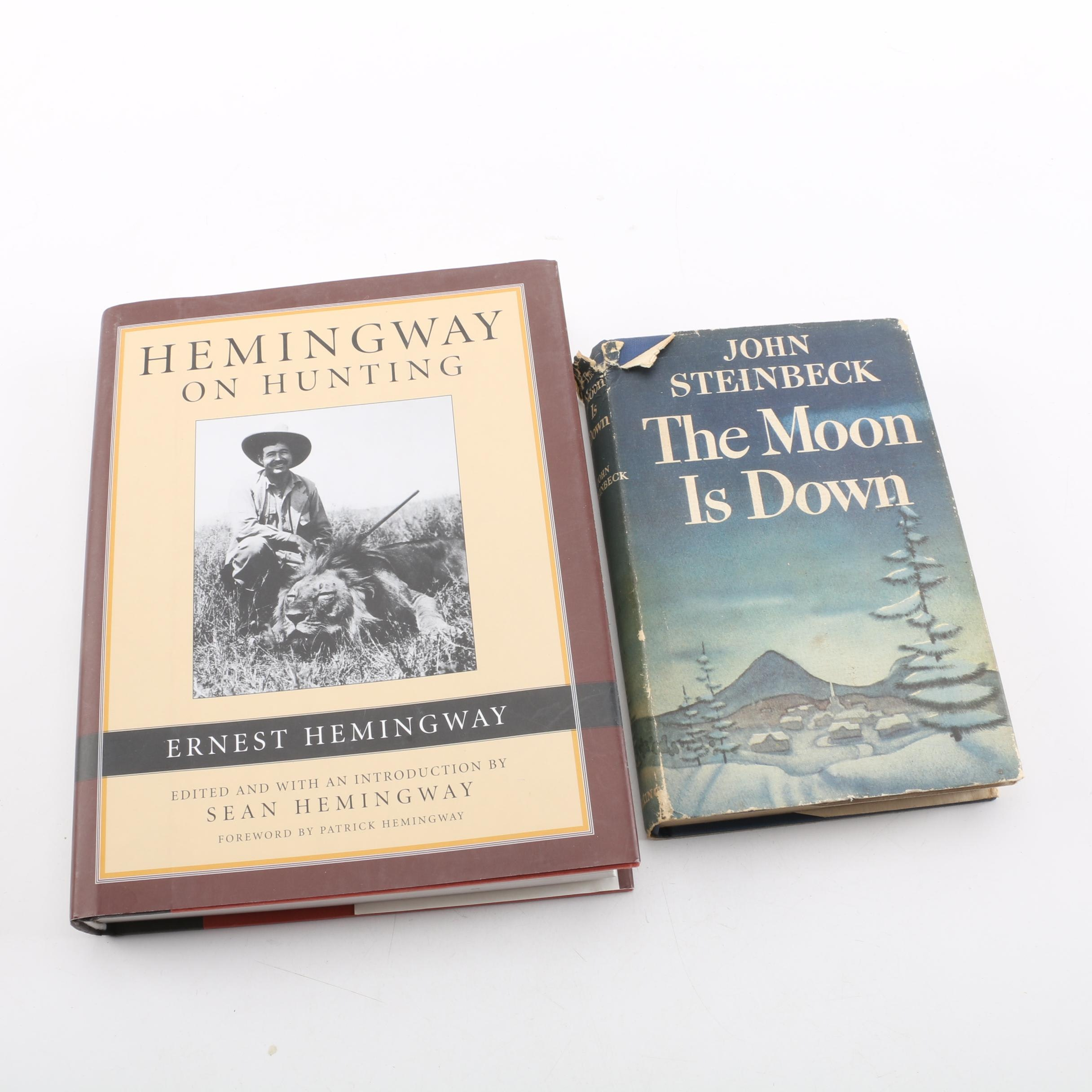 "First Edition ""The Moon is Down"" by John Steinbeck and ""Hemingway on Hunting"""