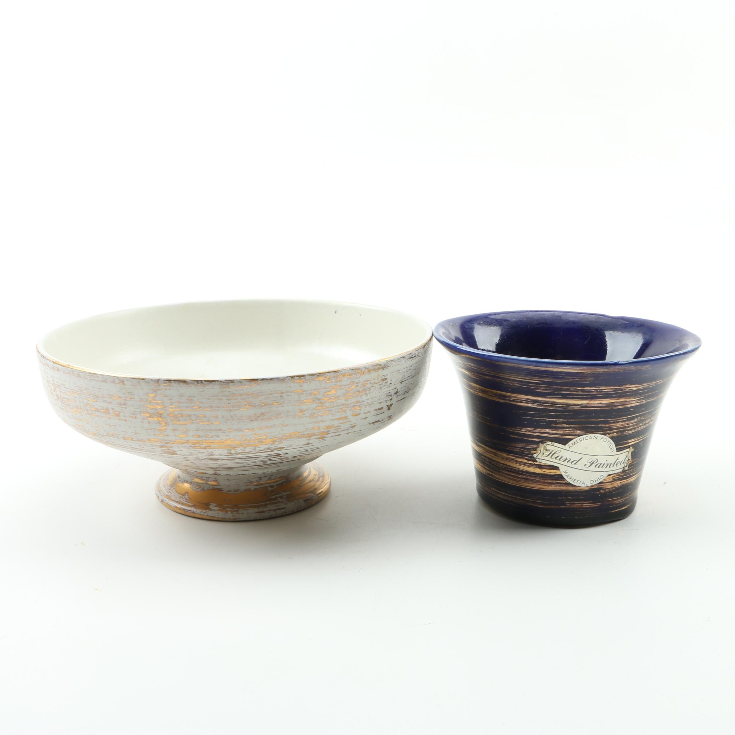 American Pottery Vase and Royal Haeger Footed Bowl