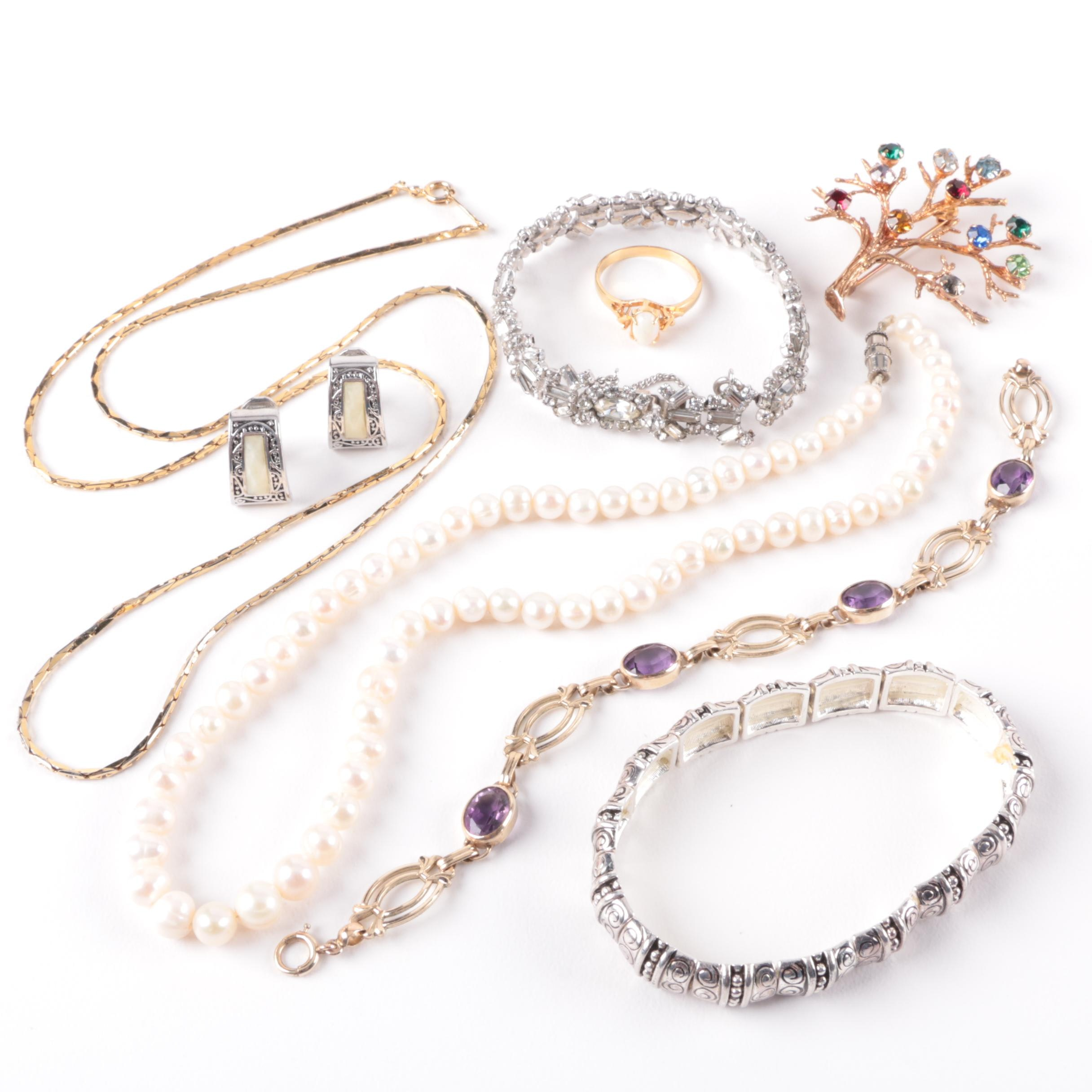 Assortment of Opal, Amethyst and Cultured Pearl Jewelry