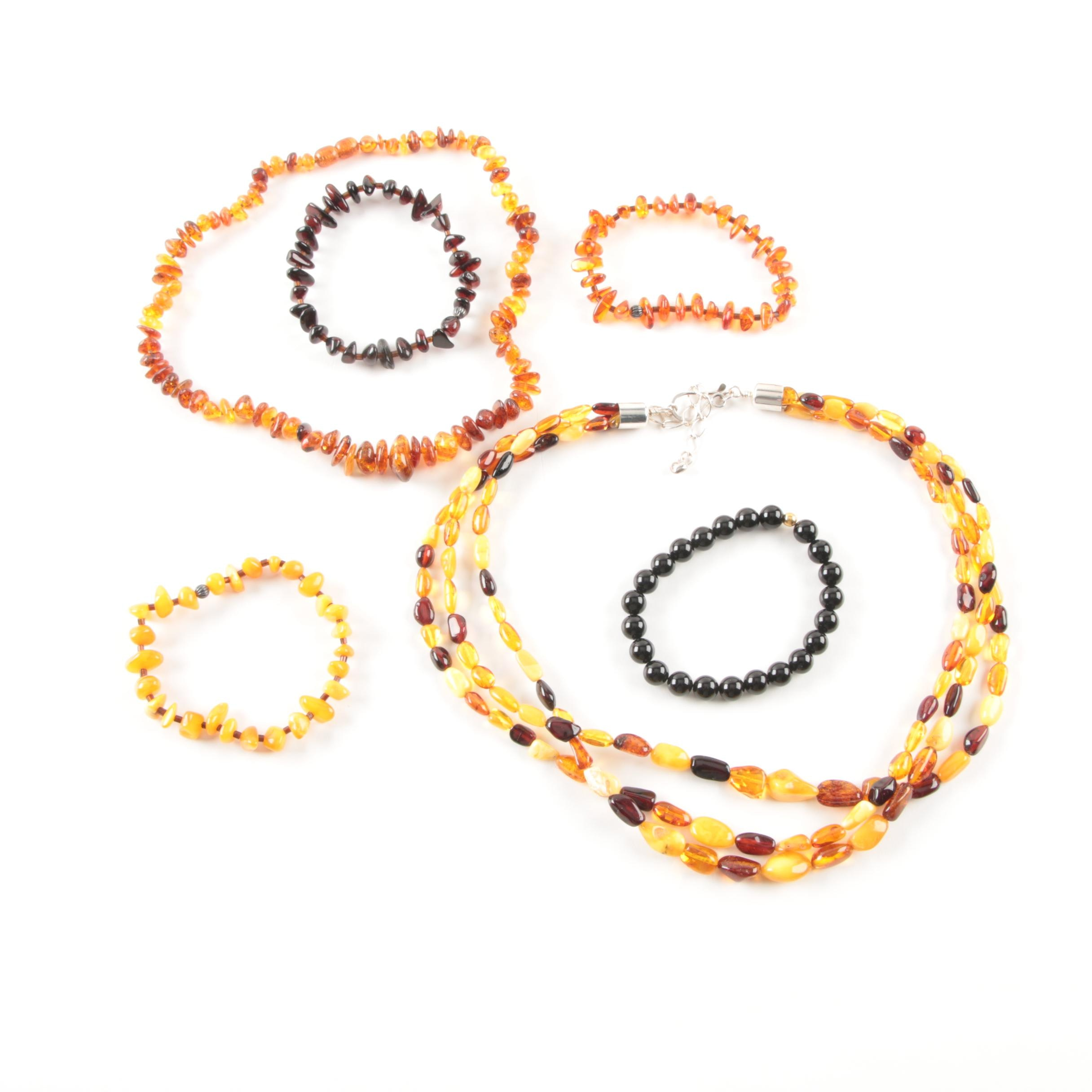 Sterling Silver Amber Beaded Necklaces and Amber and Glass Bracelets