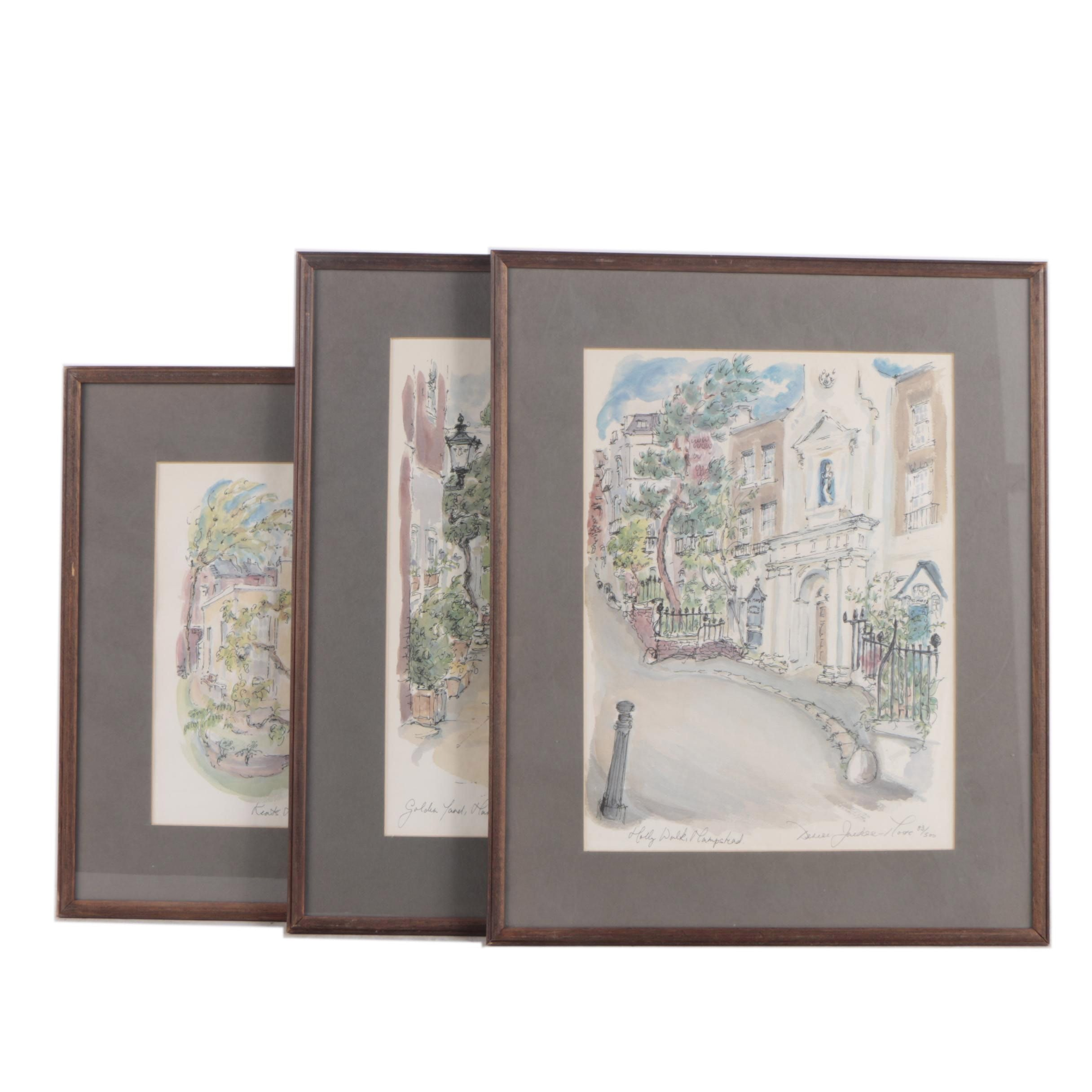 Limited Edition Signed Offset Lithographs of Scenes from Hampstead, England