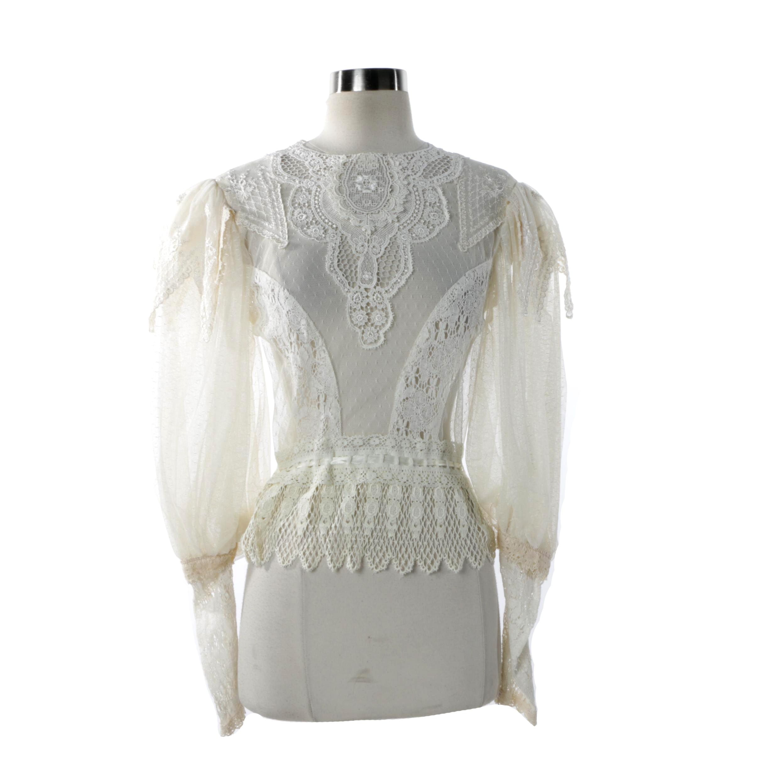 Women's Vintage Lace Edwardian Inspired Blouse
