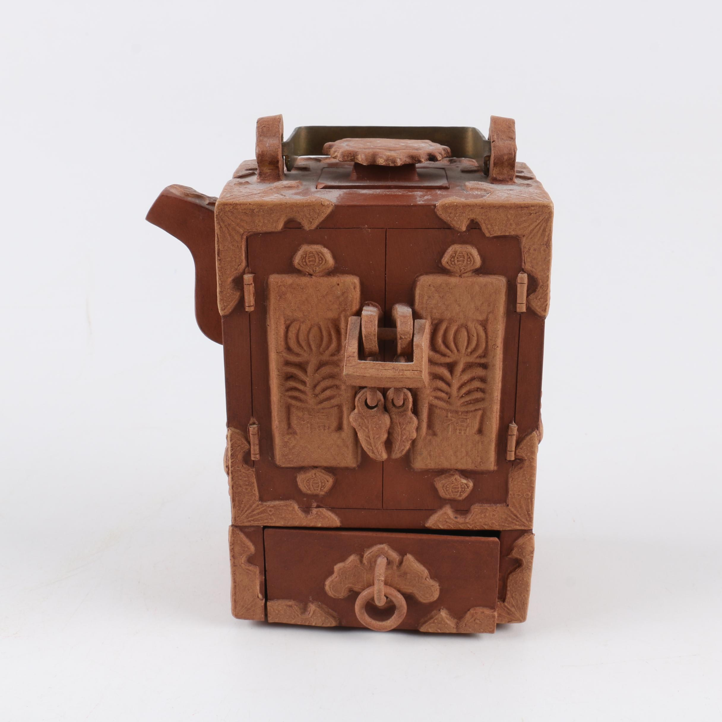 Chinese Handbuilt Redware Cabinet Teapot