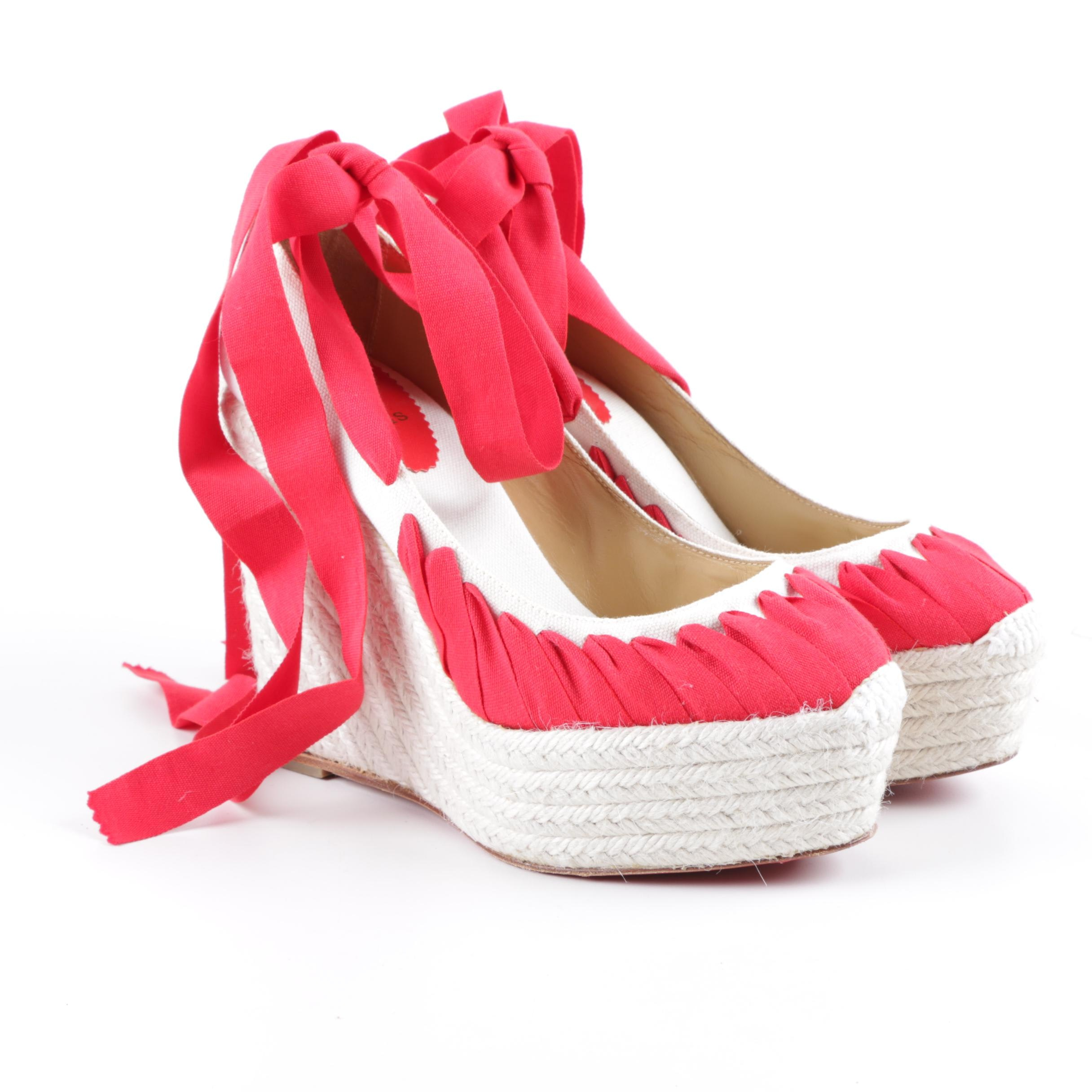 Women's Christian Louboutin of Paris Ibiza Jute Espadrille Wedges