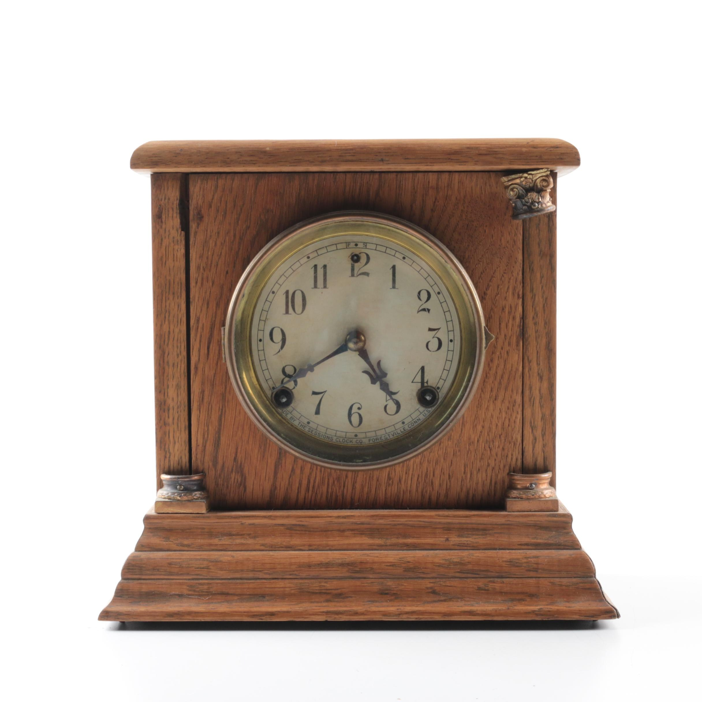 Session Clock Co. Oak Mission Style Mantel Clock