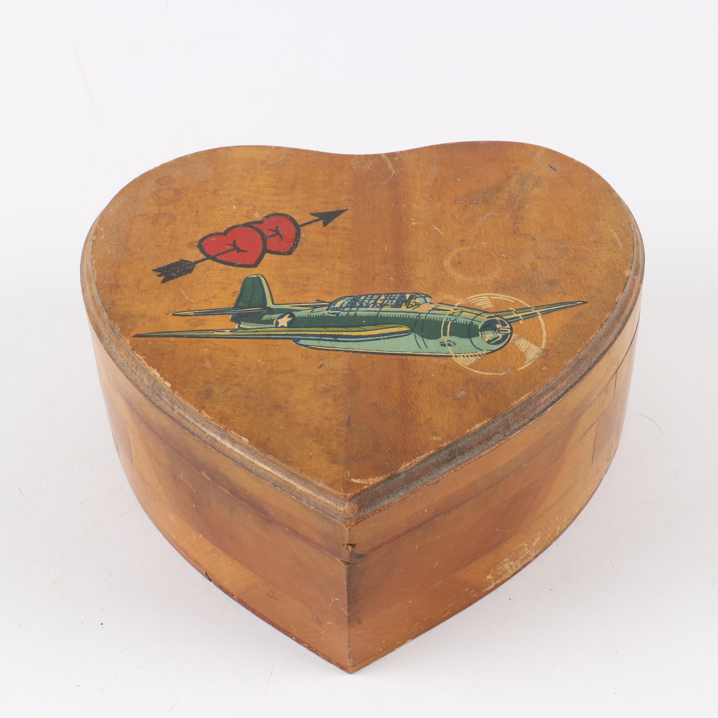 Vintage WWII Heart Shaped Wood Box