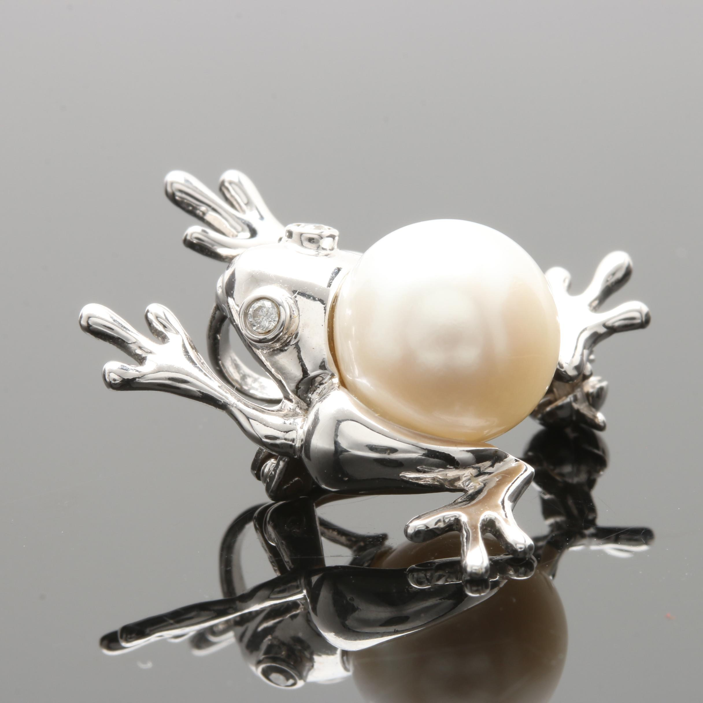 14K White Gold Cultured Pearl and Diamond Frog Brooch