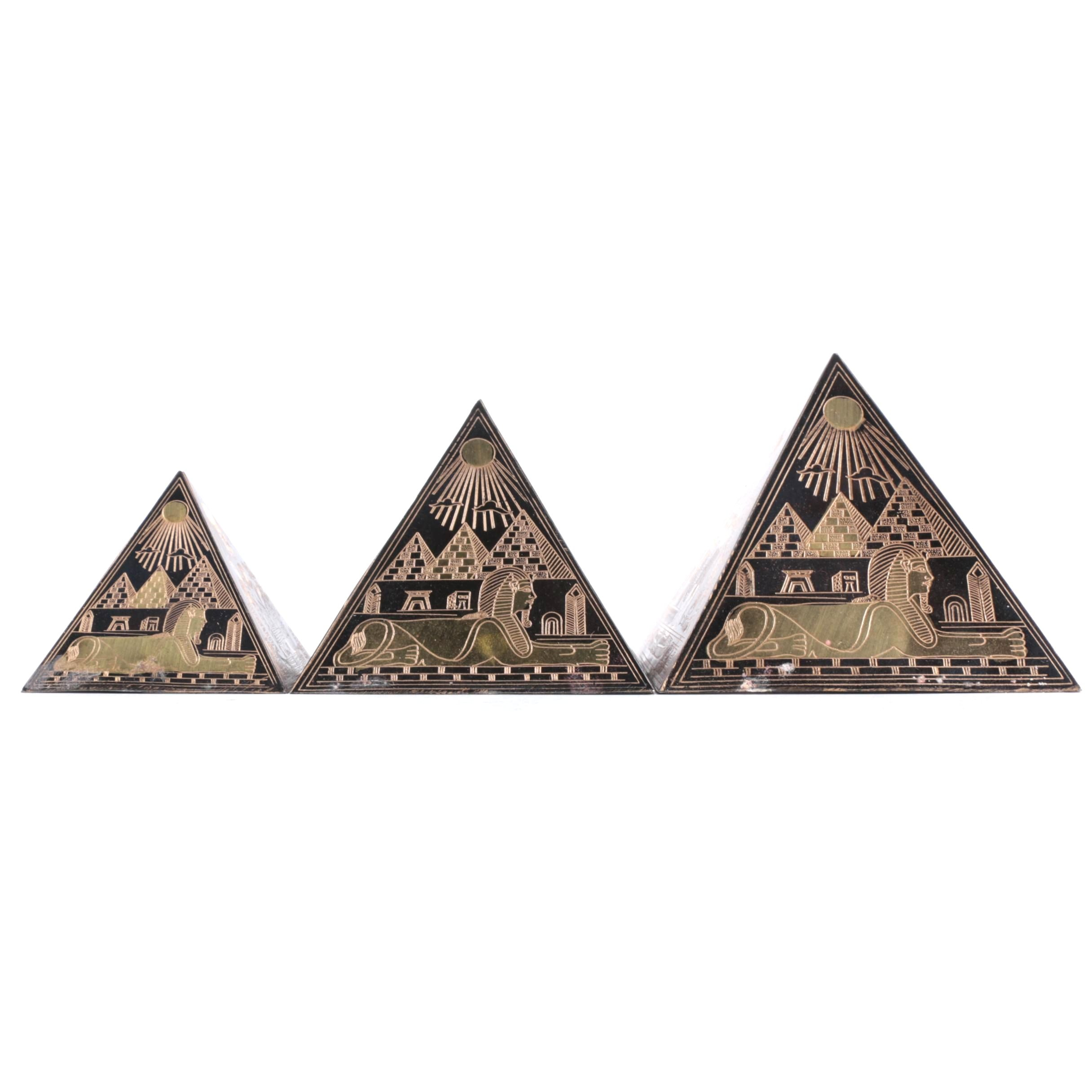 Egyptian Motif Pyramid Paperweights