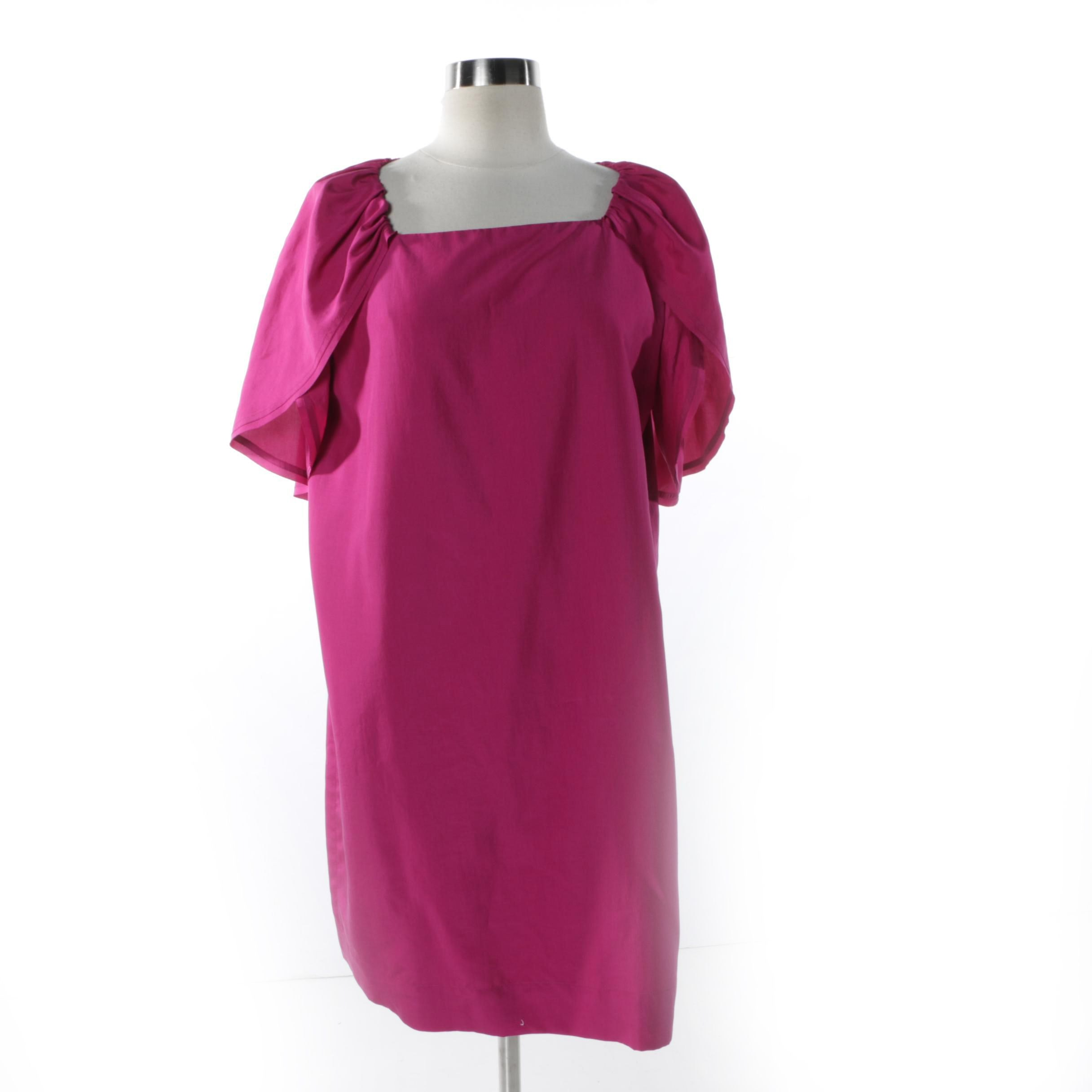 Fendi Fuchsia Silk Petal Sleeve Dress