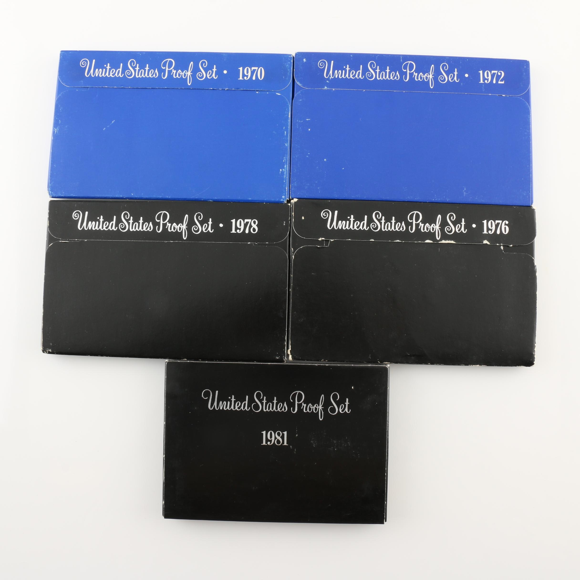 Group of Five U.S. Mint Proof Sets Including 1970, 1972, 1976, 1978, and 1981