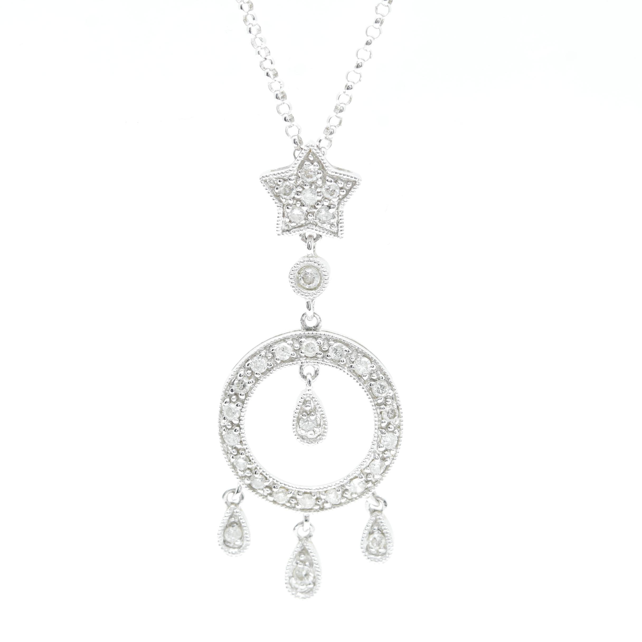 14K White Gold Diamond Geometric Pendant Necklace