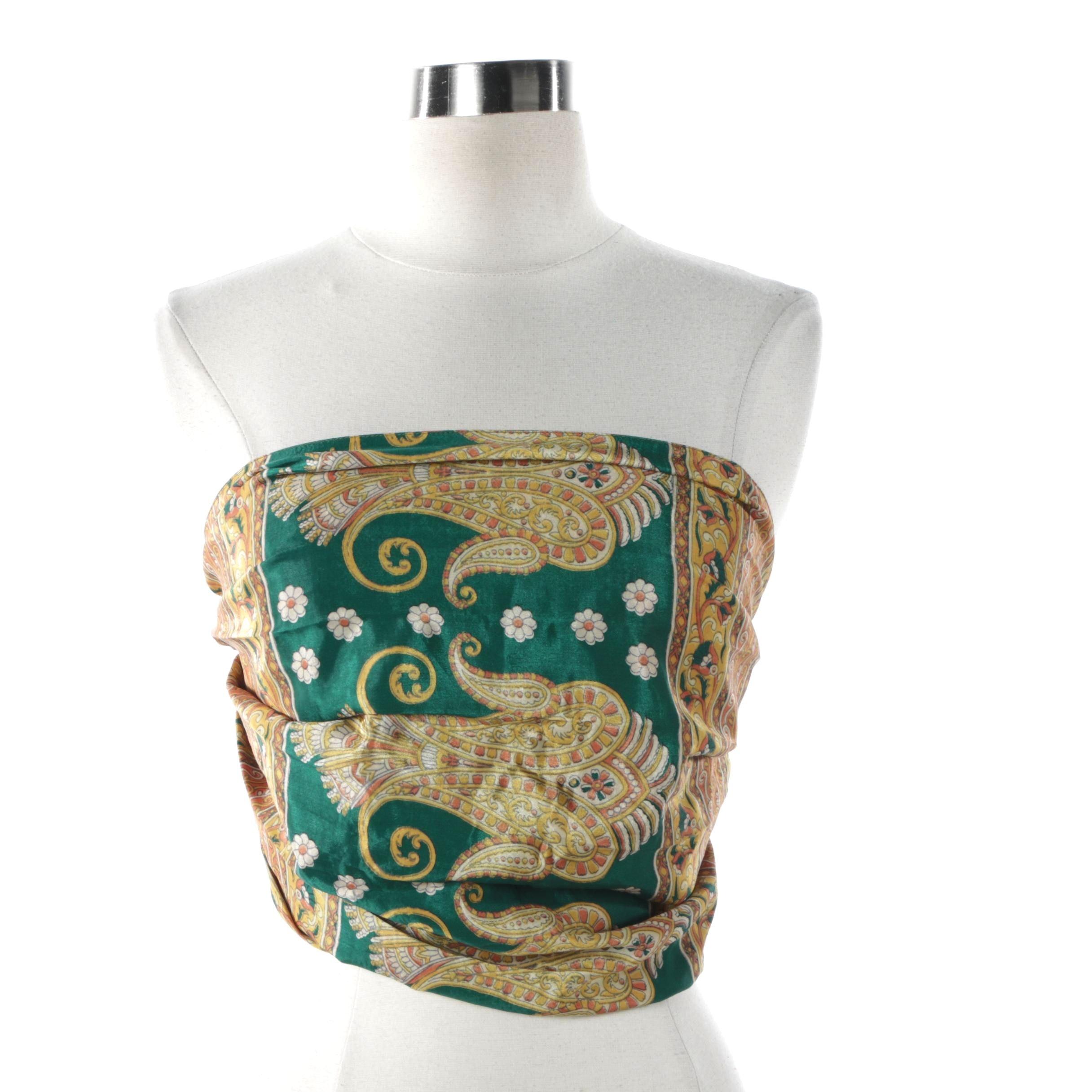Green and Nutmeg Vintage Sari One of a Kind Sari Scarf