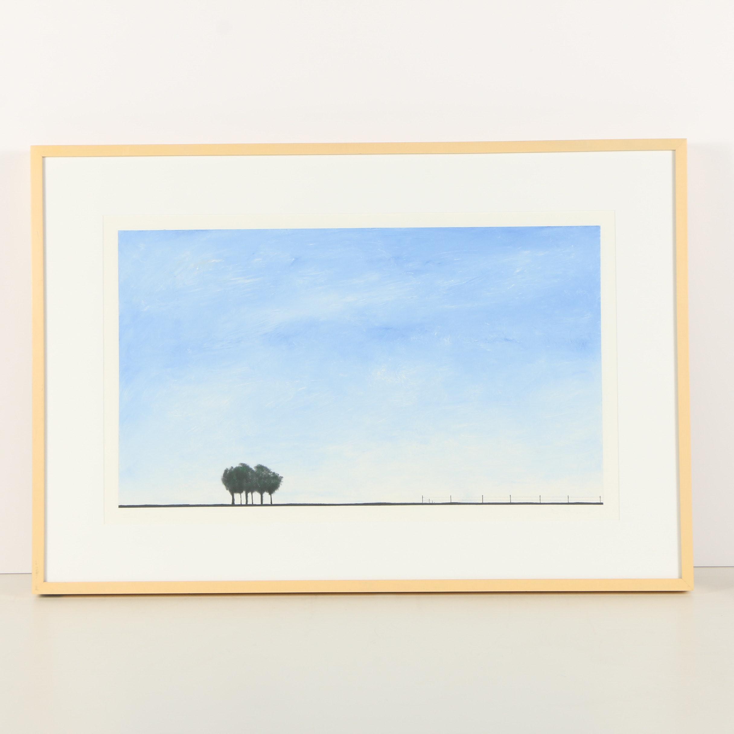 "D. Thomas Acrylic Painting ""Six Trees"""