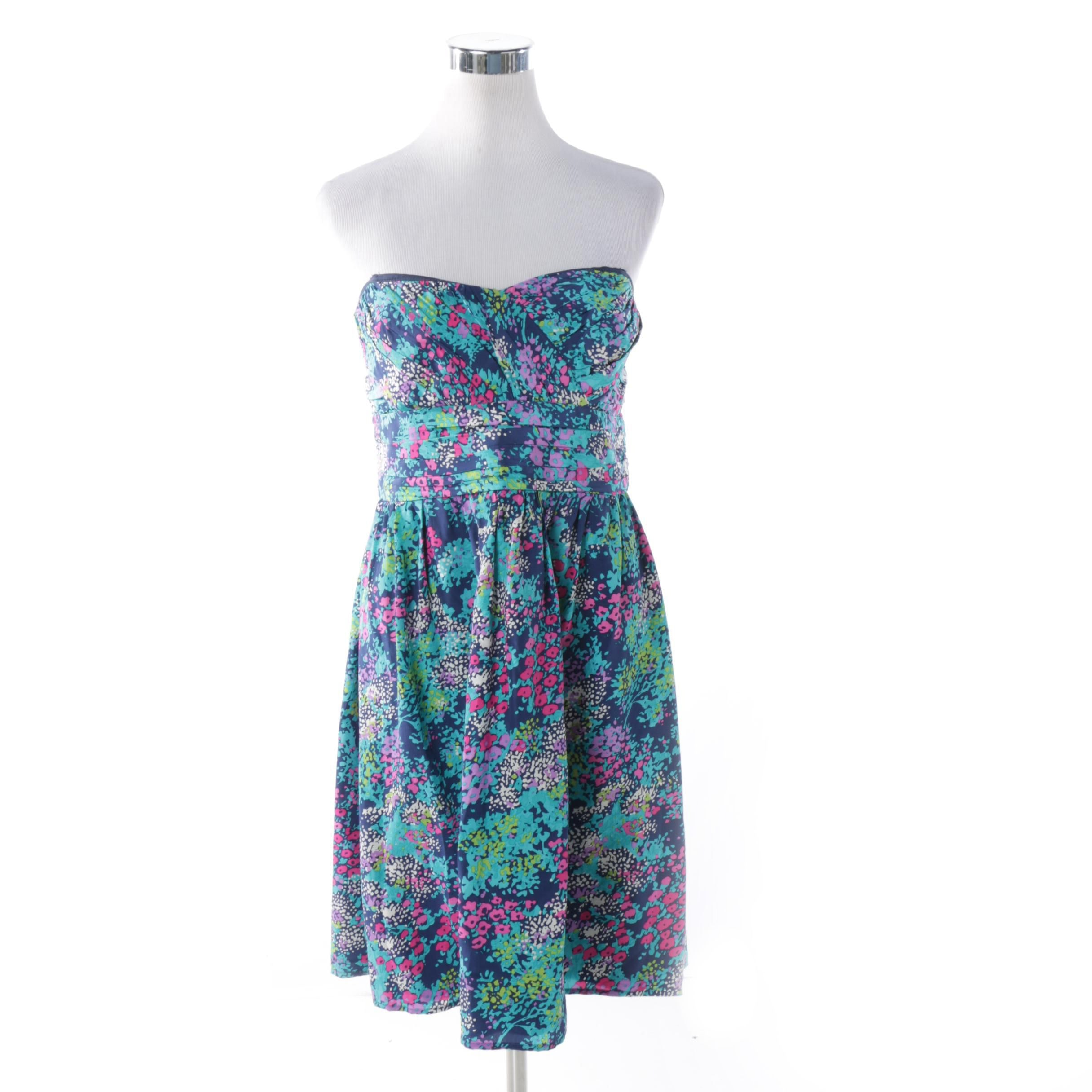 Shoshanna Floral Silk Strapless Dress