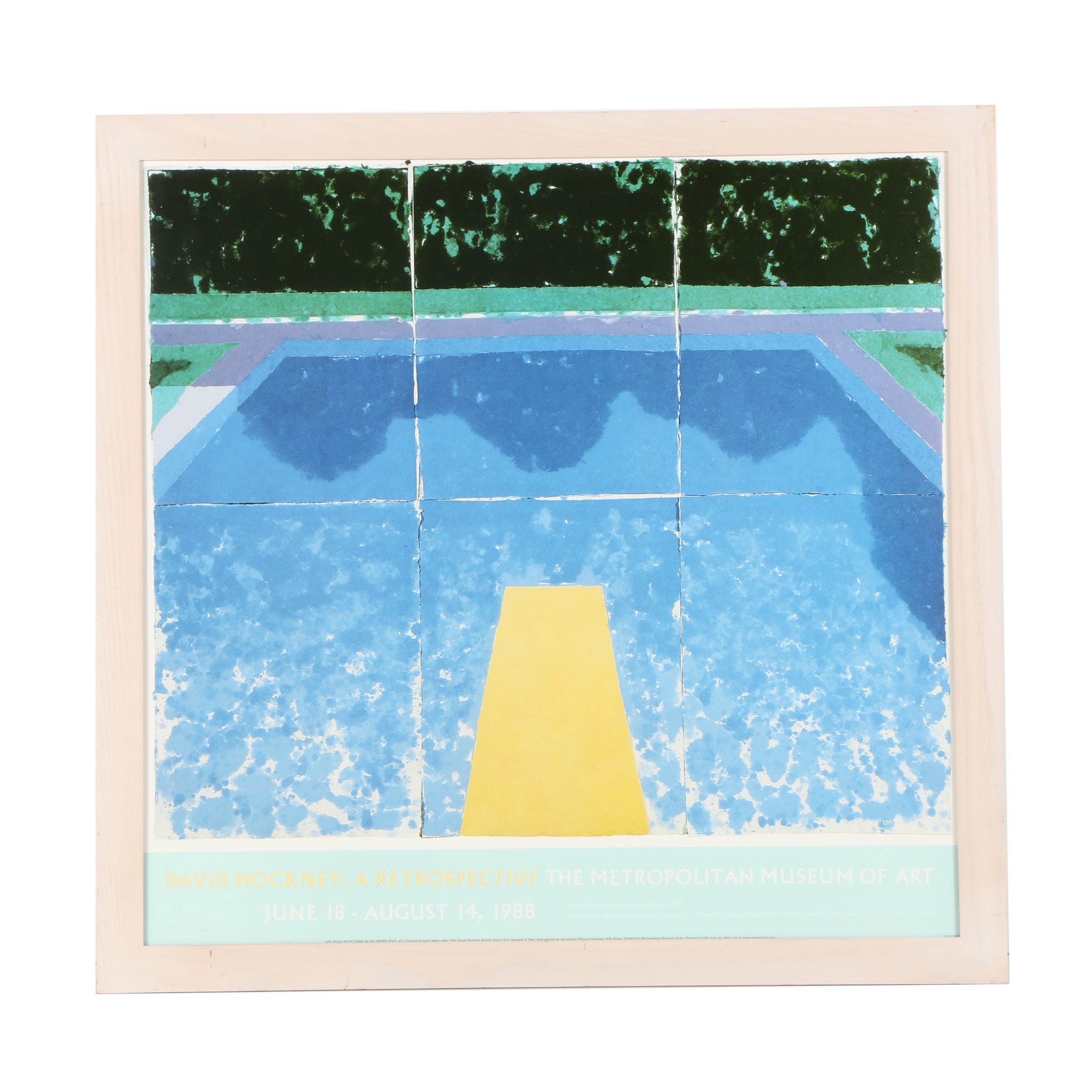 "Offset Lithograph Poster After David Hockney ""Day Pool with Three Blues"""