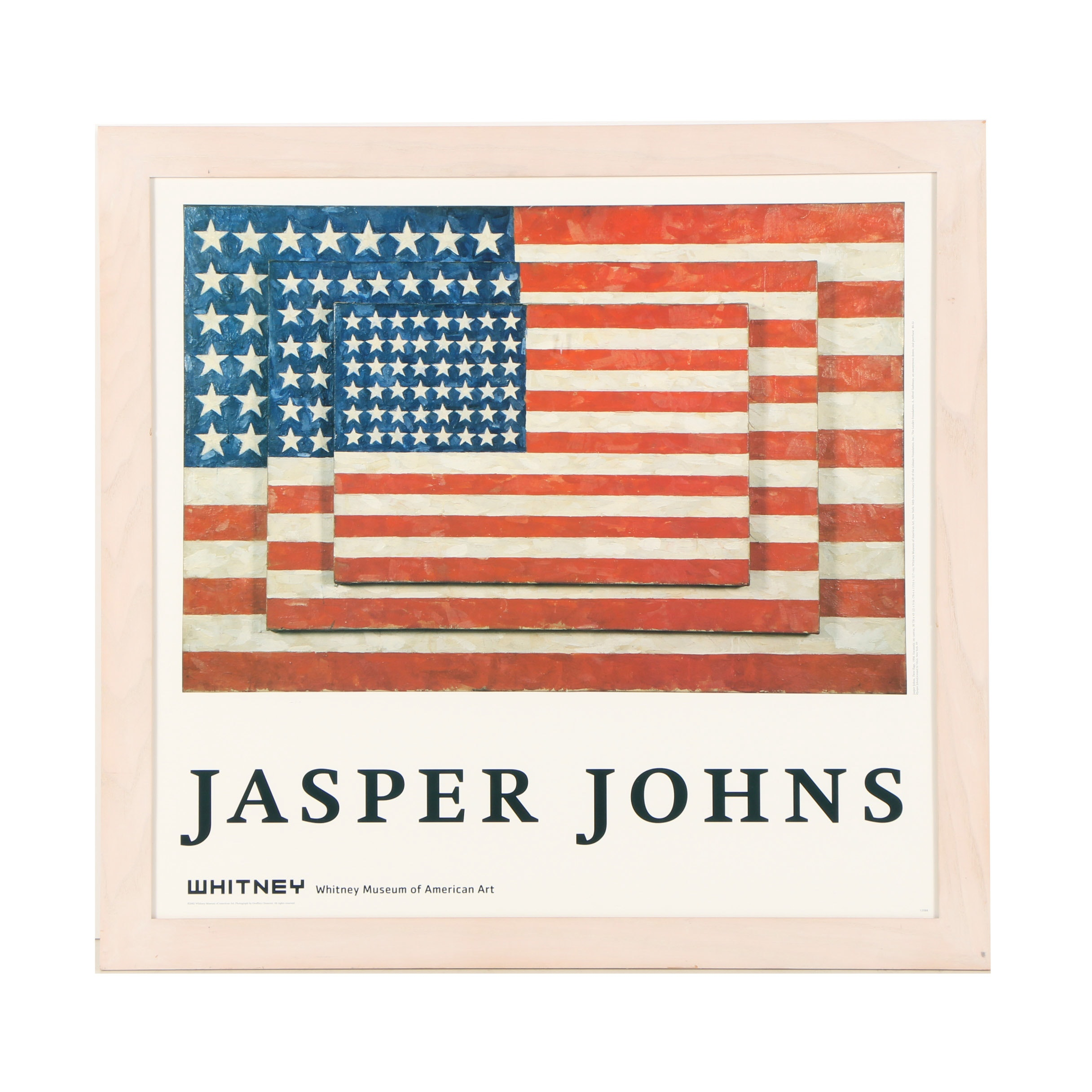 "Offset Lithograph Poster After Jasper Johns ""Three Flags"""