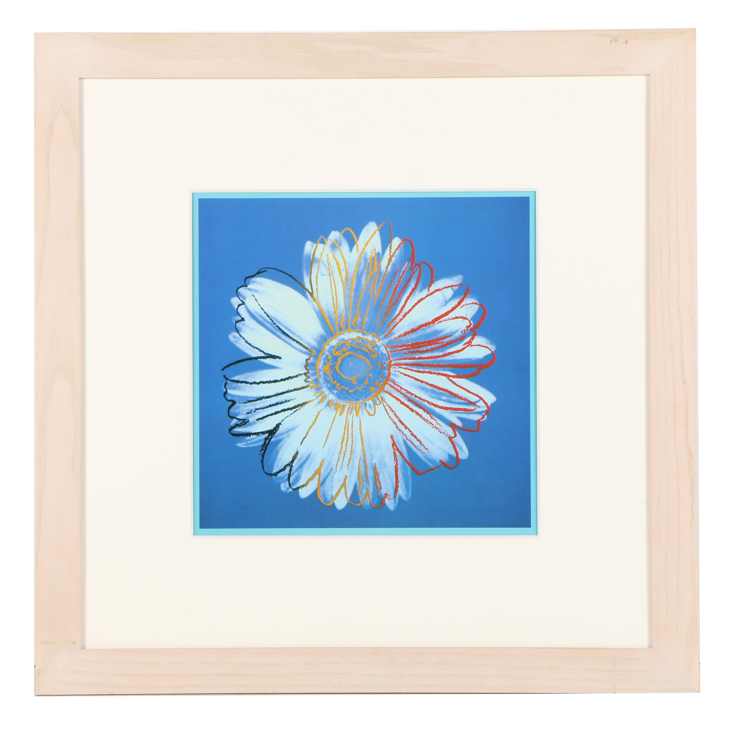 "After Andy Warhol Offset Lithograph ""Daisy (Blue on Blue)"""