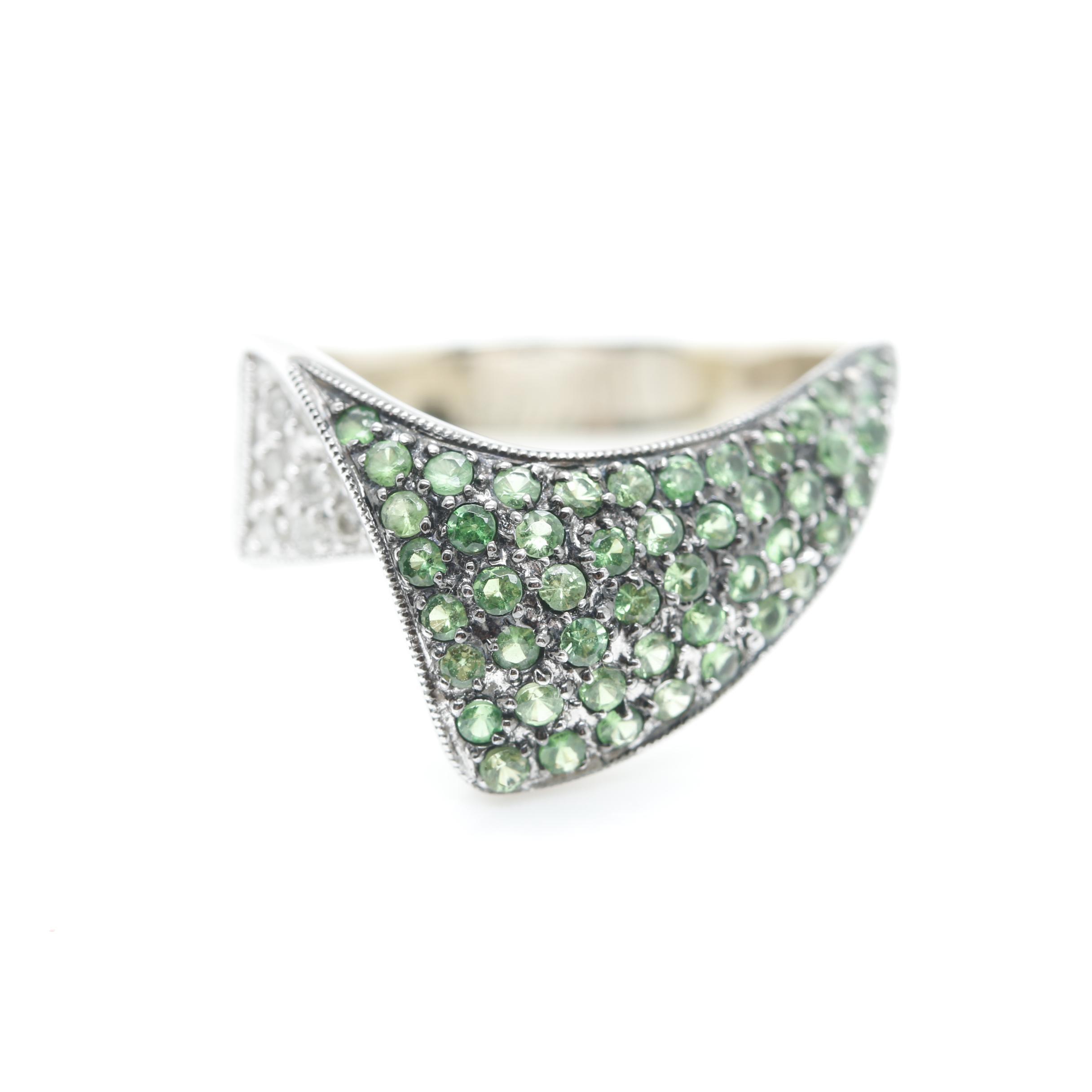 14K White Gold 1.20 CTW Diamond and Tsavorite Garnet Ring