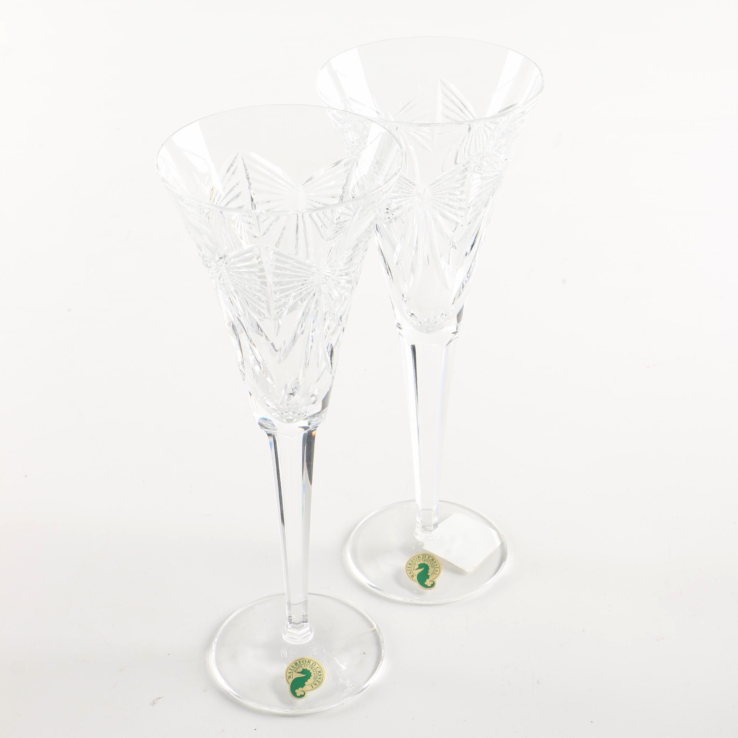 """Pair of Waterford Crystal """"Millennium Series: Happiness"""" Toasting Flutes"""