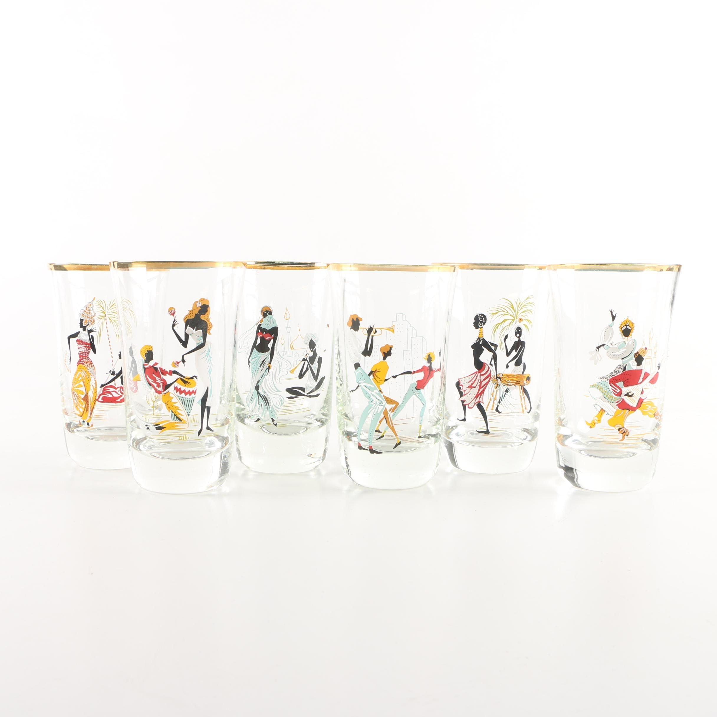 Six Gilt Rimmed Juice Glasses