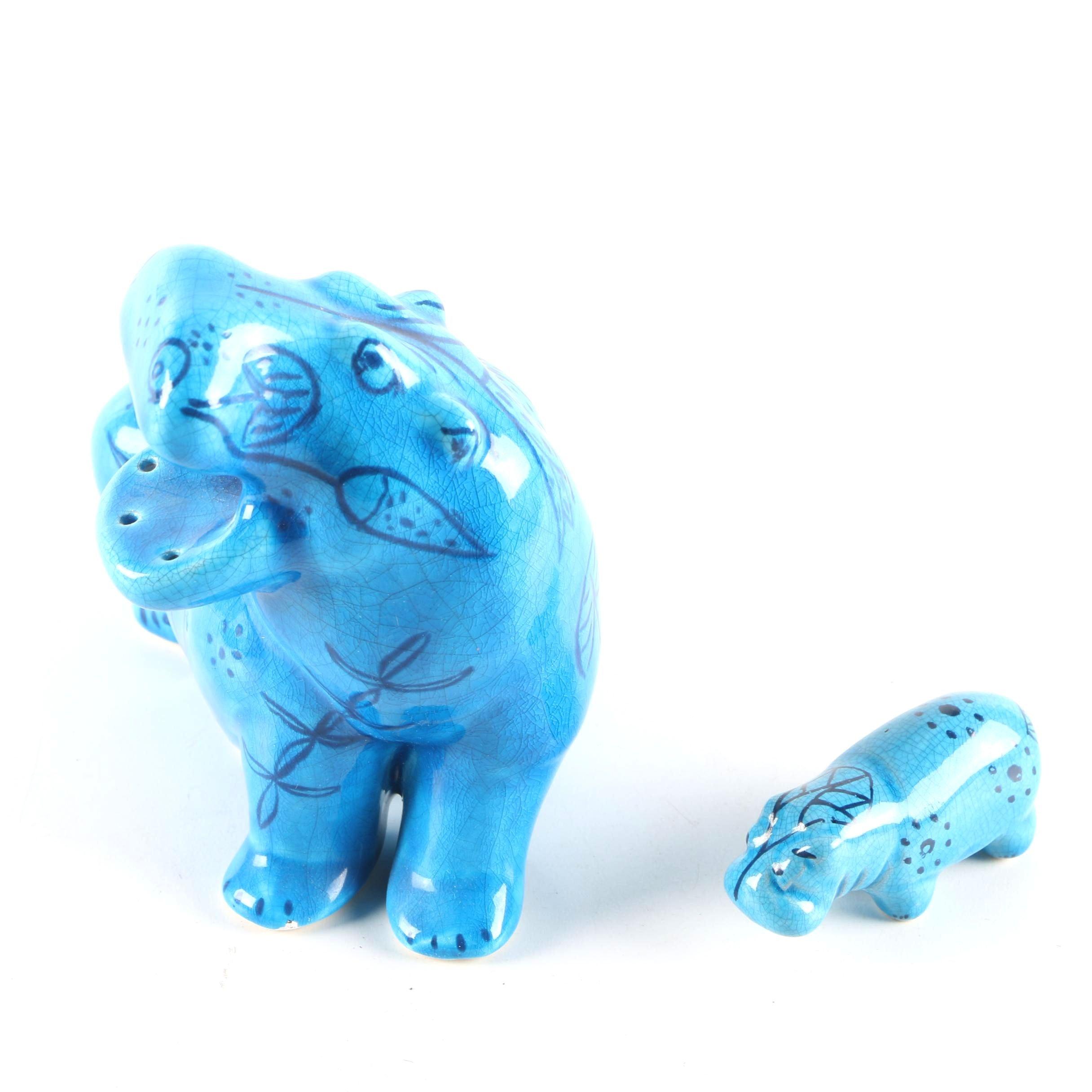 BMPL Blue Ceramic Hippopotamus Figurines