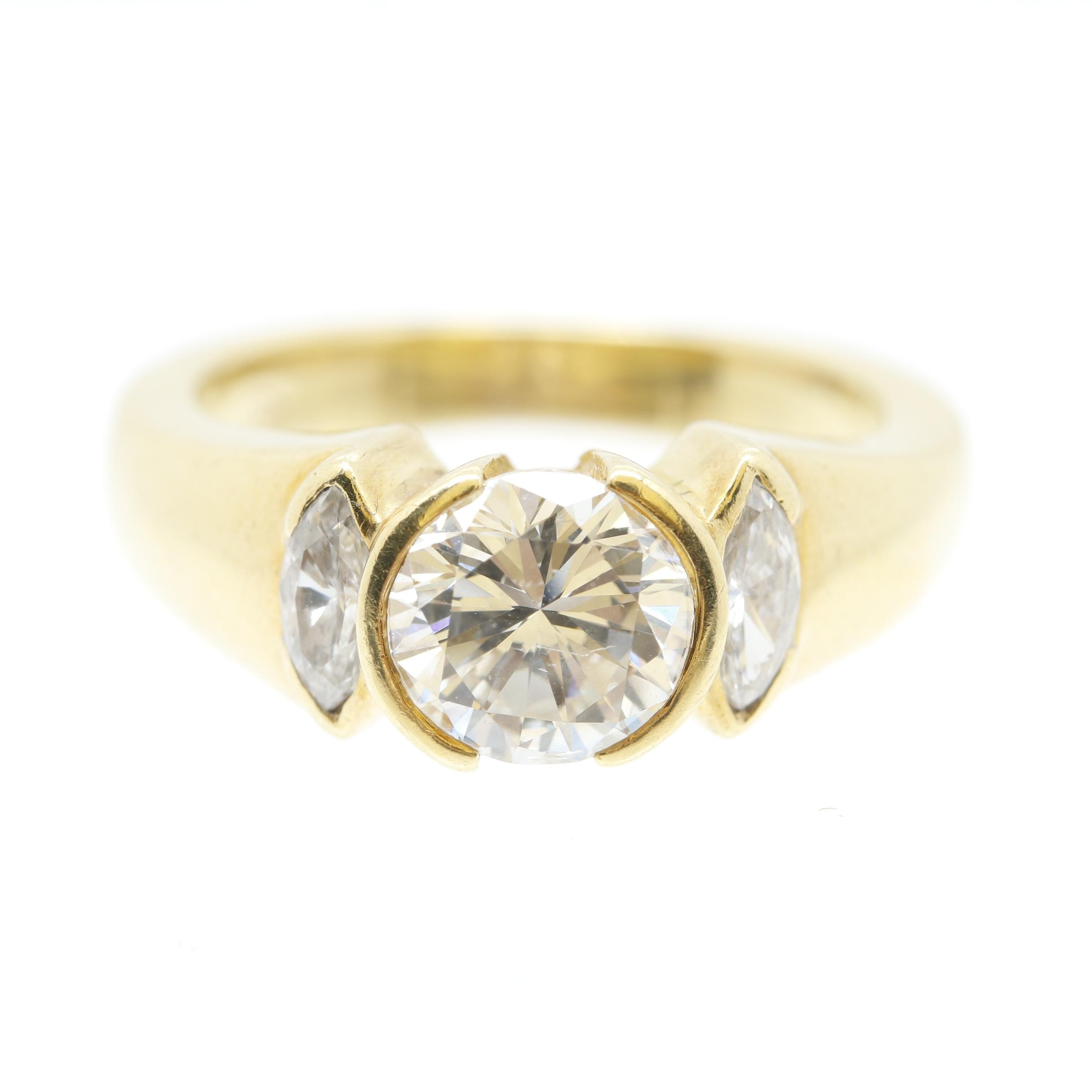 18K Yellow Gold 1.39 CTW Diamond Ring