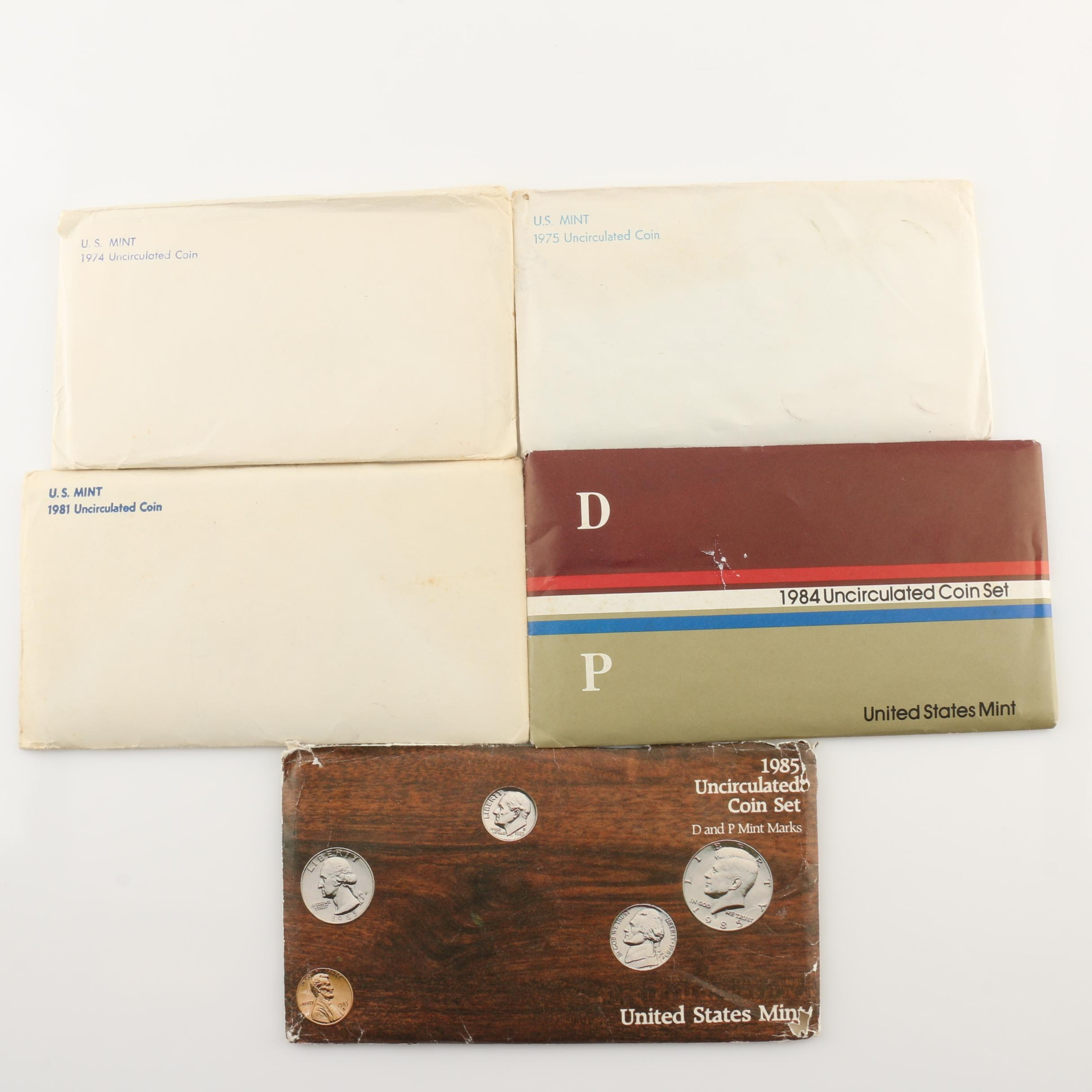 Five U.S. Mint Uncirculated Sets Including 1974, 1975, 1981, 1984, and 1985