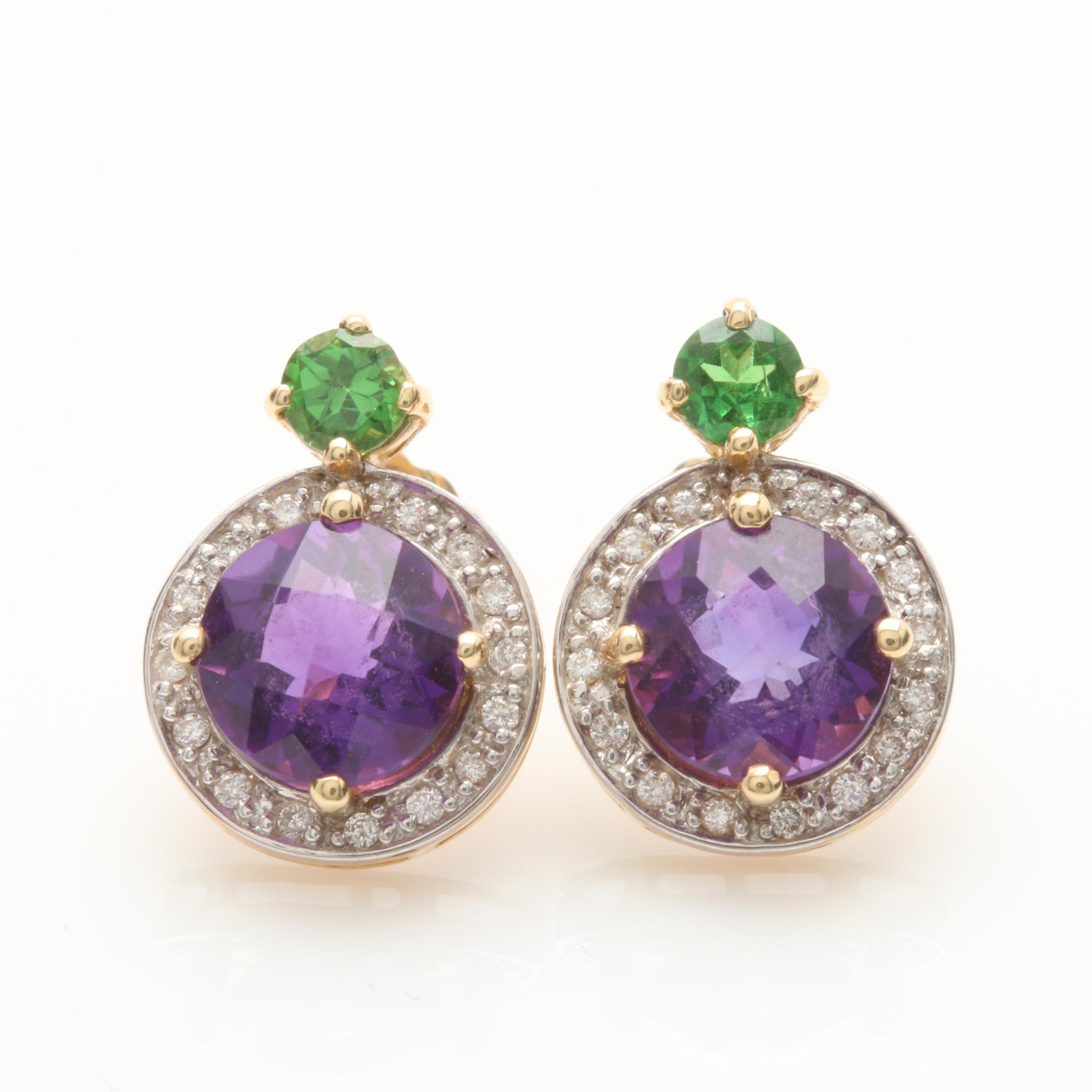 14K Yellow Gold Amethyst, Diamond, and Tsavorite Garnet Earrings