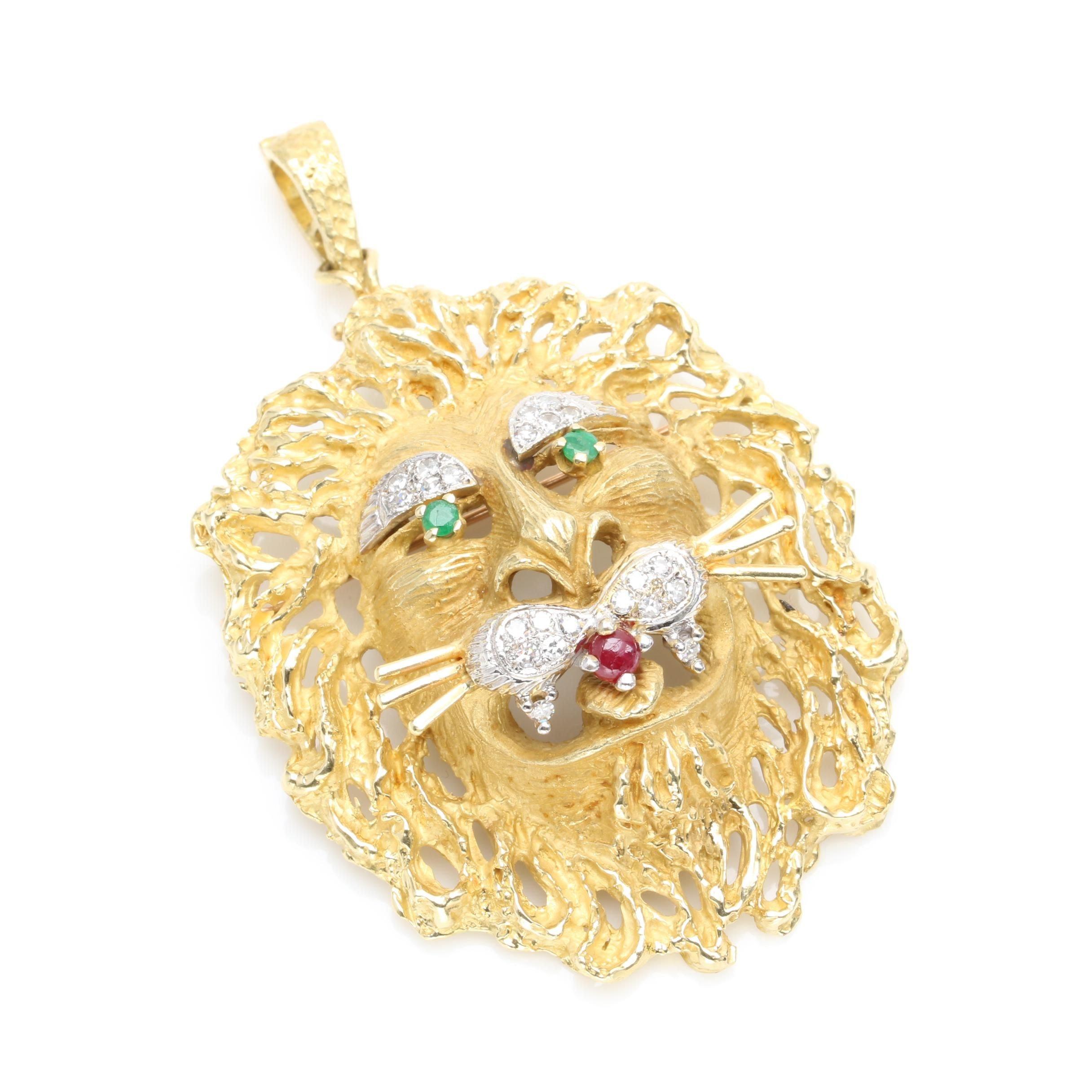 18K Yellow Gold Ruby, Emerald and Diamond Lion Head Converter Brooch