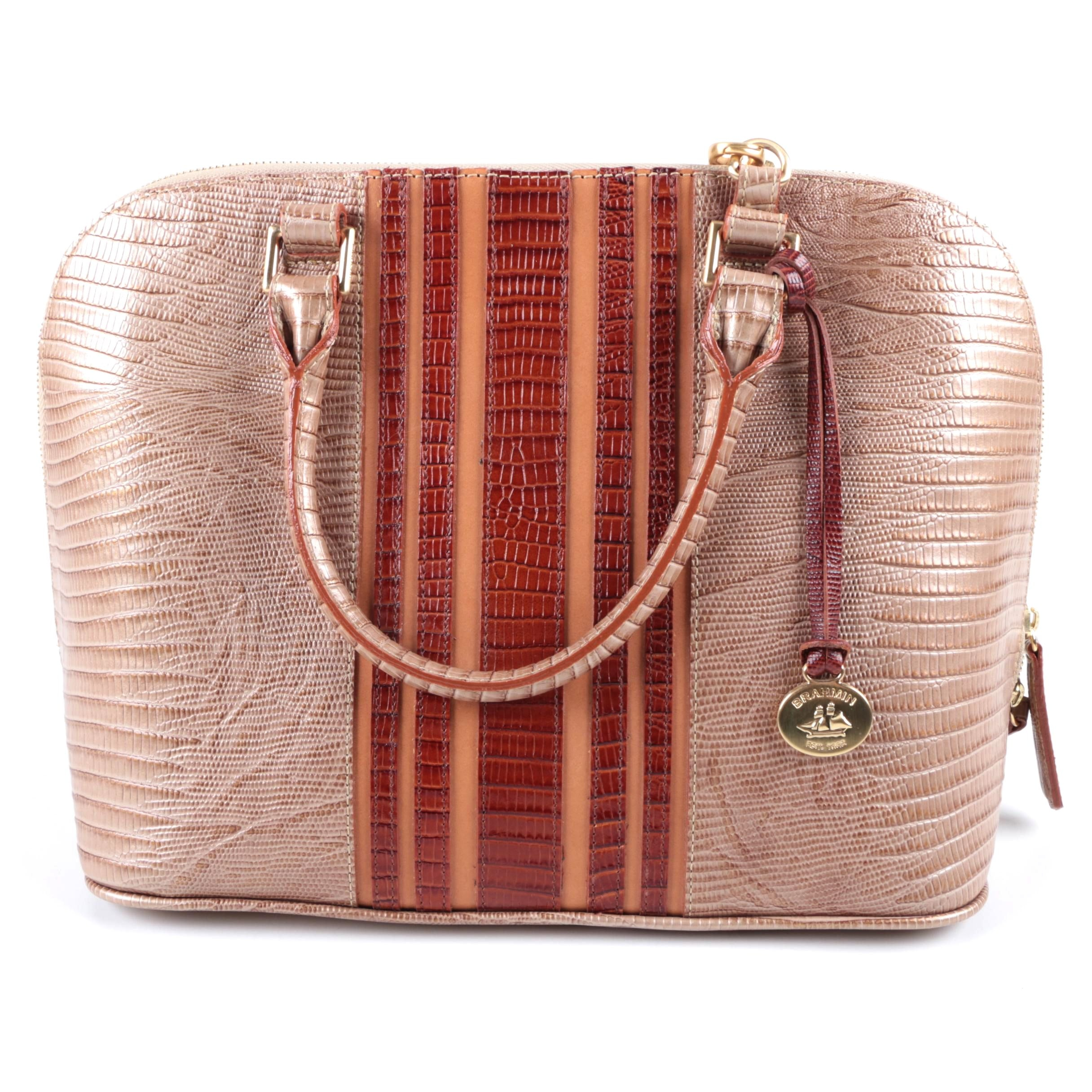 Brahmin Crocodile and Lizard Embossed Leather Convertible Satchel
