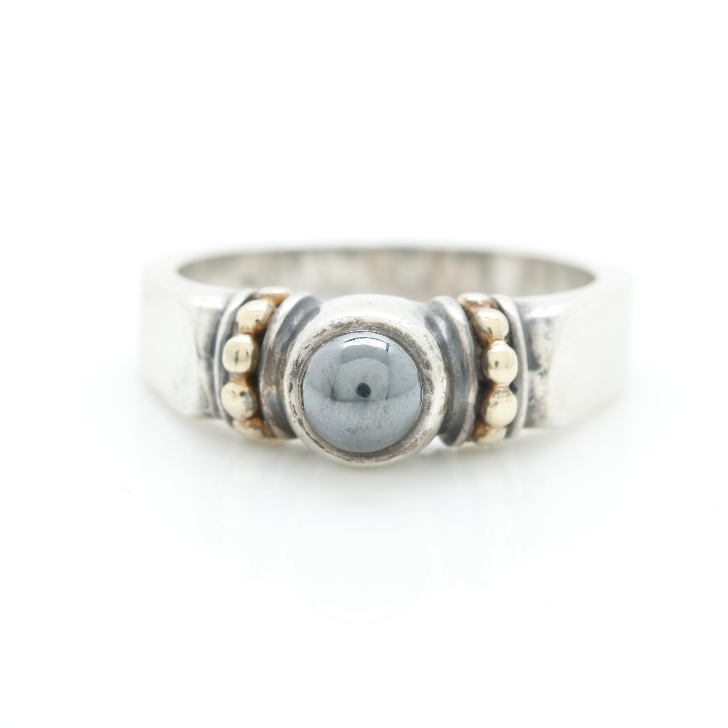 Caviar by Lagos Sterling Silver Imitation Hematite Ring