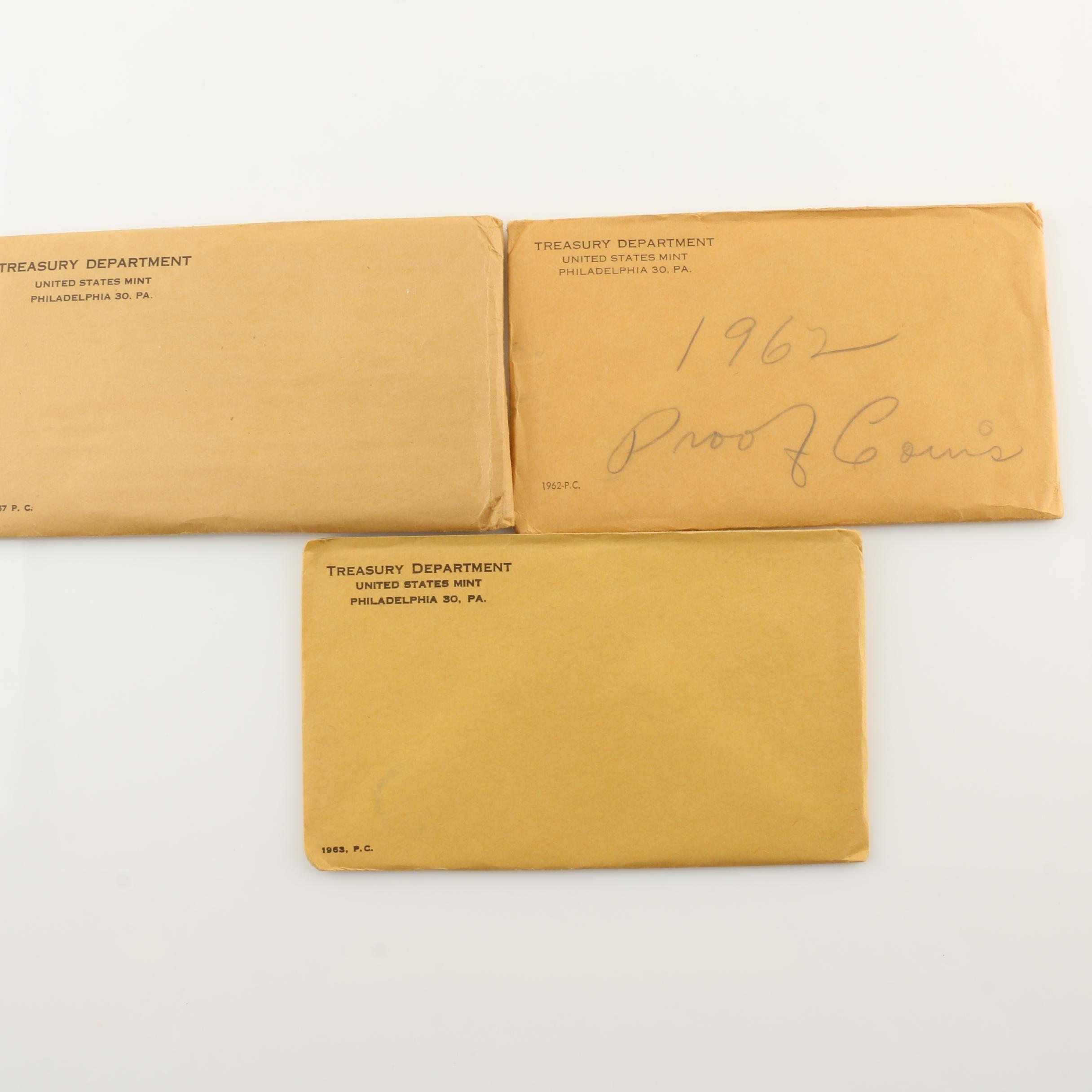 Three Pre-1965 U.S. Mint Proof Sets