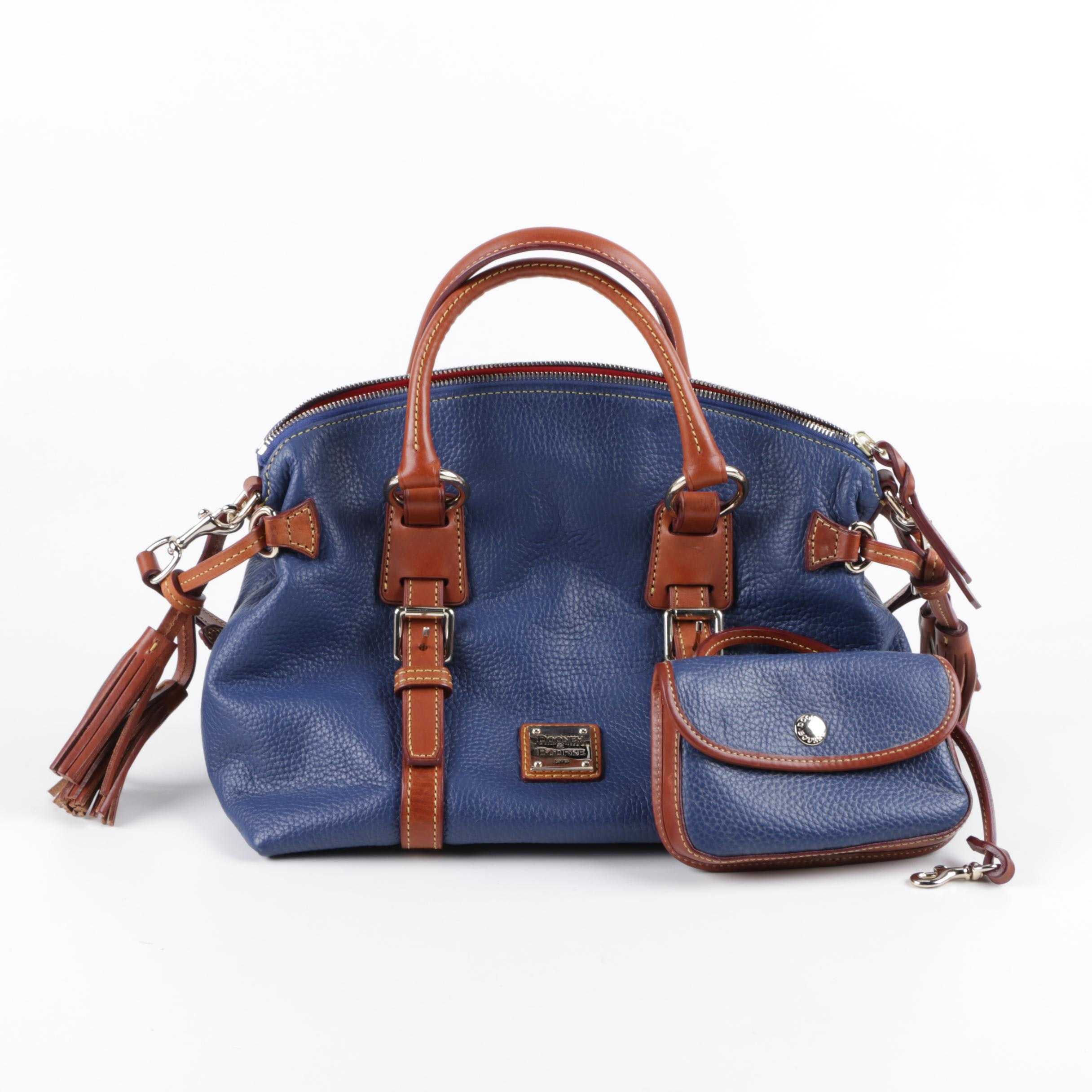 Dooney & Bourke Blue Pebbled Leather Bristol Satchel and Accessories
