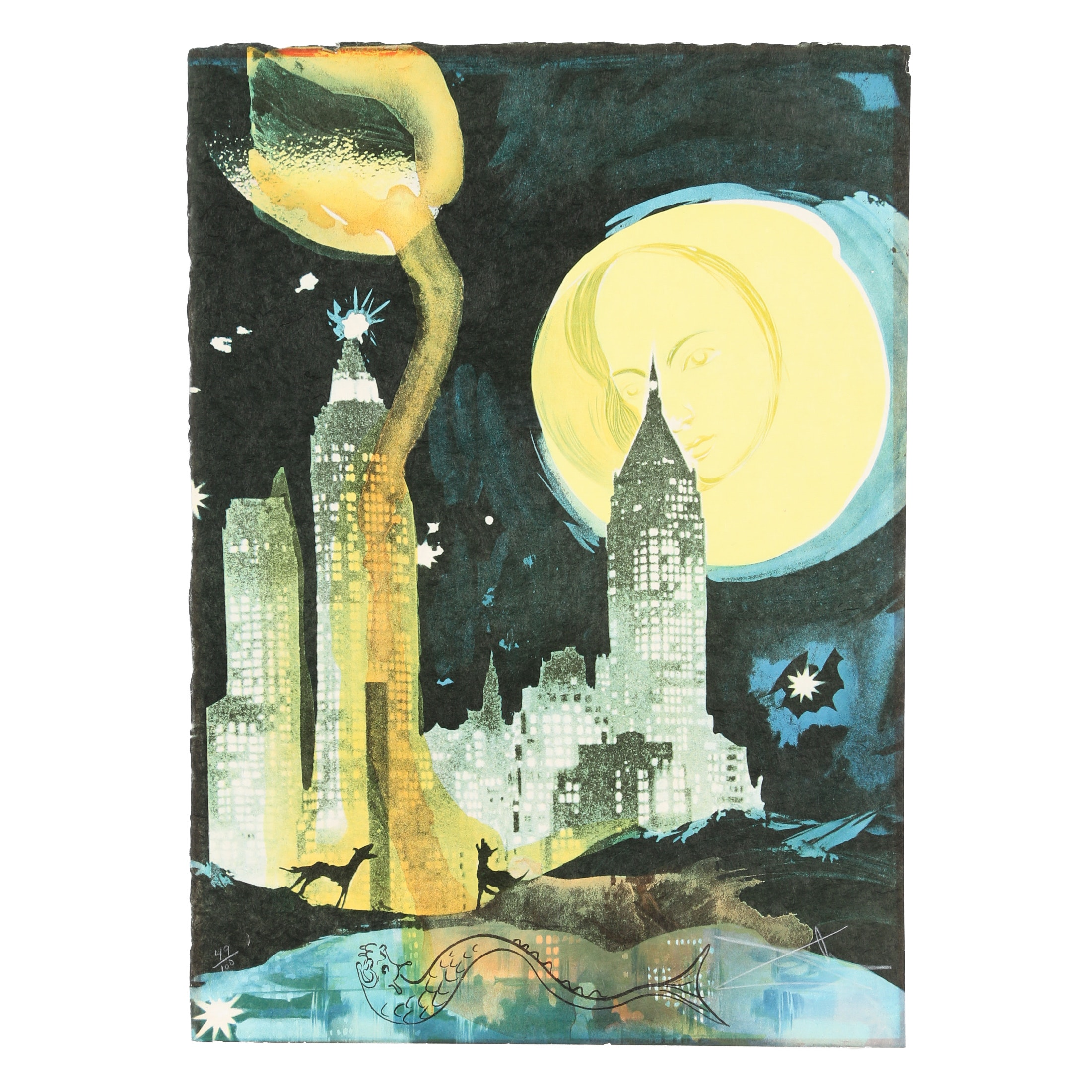 "Salvador Dalí Limited Edition Lithograph ""Manhattan Skyline"""