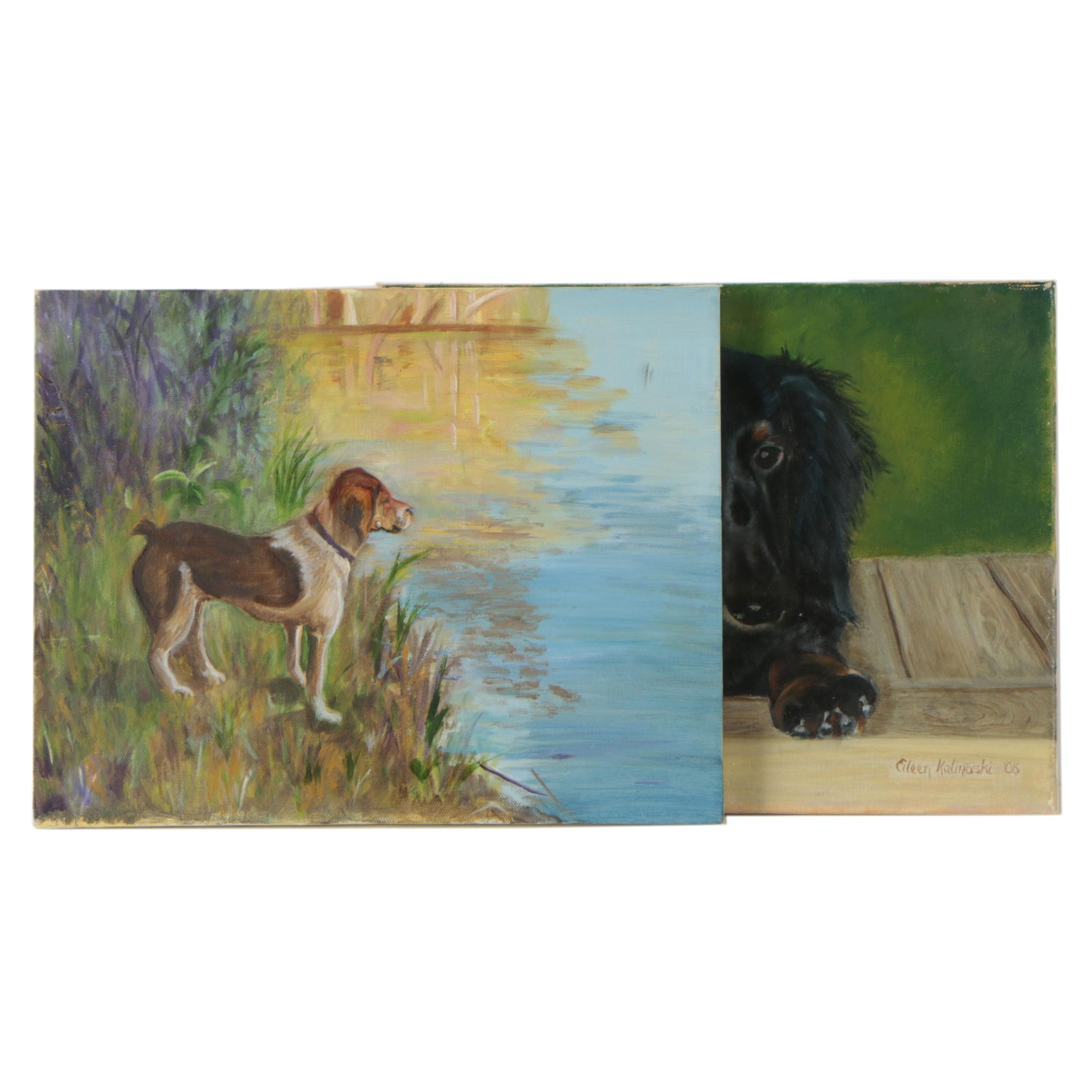 Oil Paintings of Dachshund and Terrier