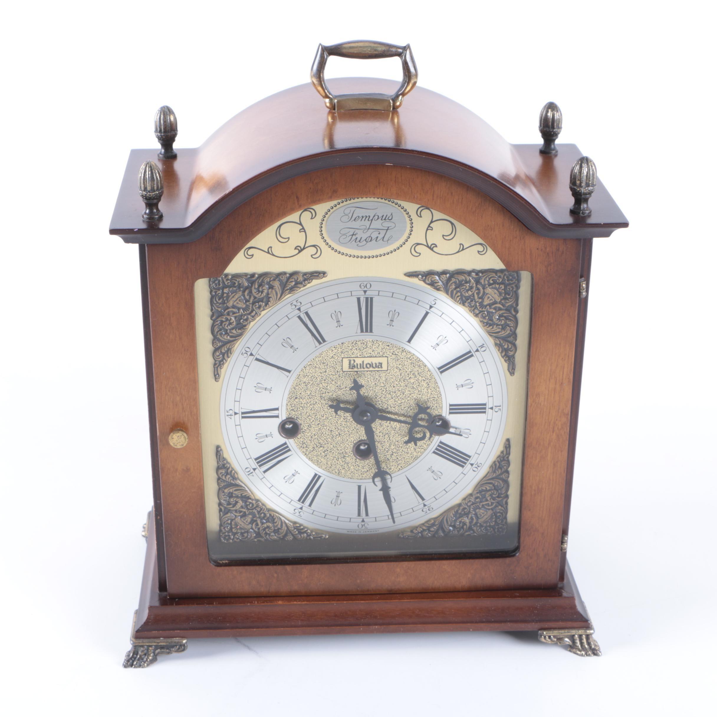 Vintage Bulova Tempus Fugit Chime Mantel Clock