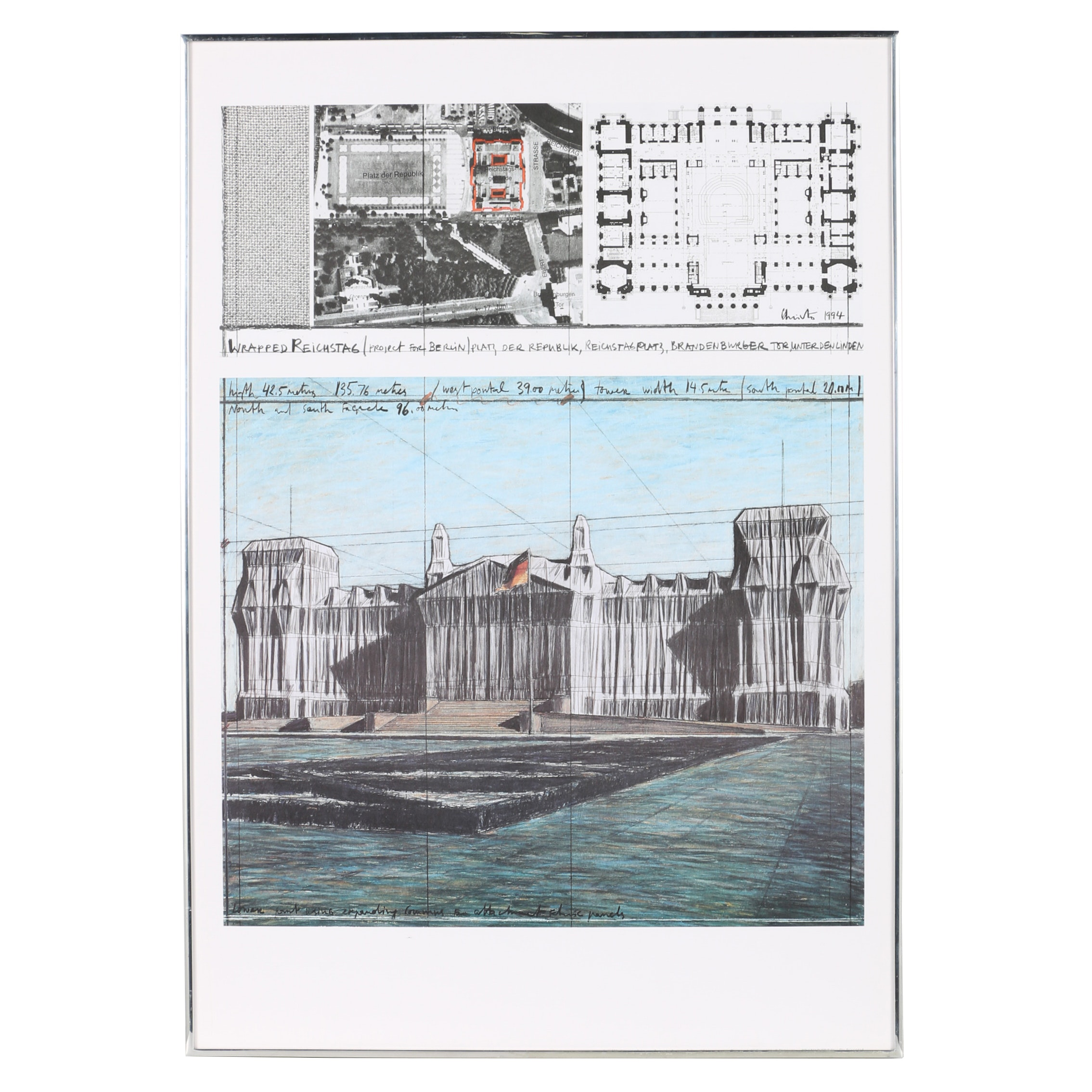 """Offset Lithograph After Javacheff Christo """"Wrapped Reichstag"""""""