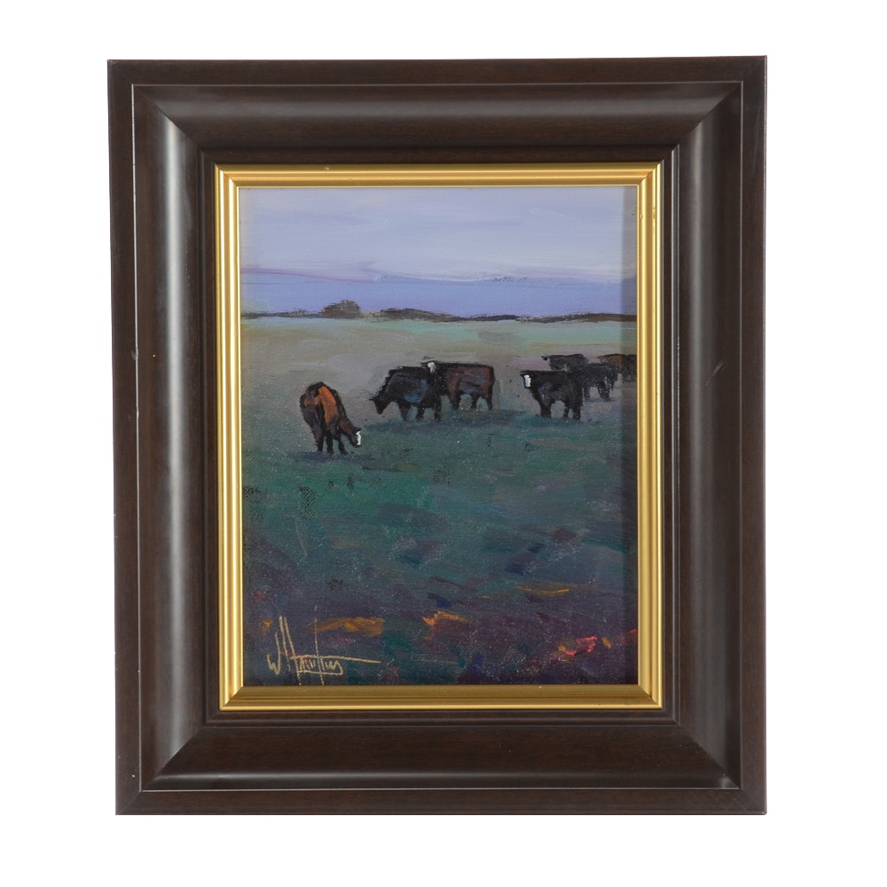 William Hawkins Original Oil Painting of a Bucolic Landscape