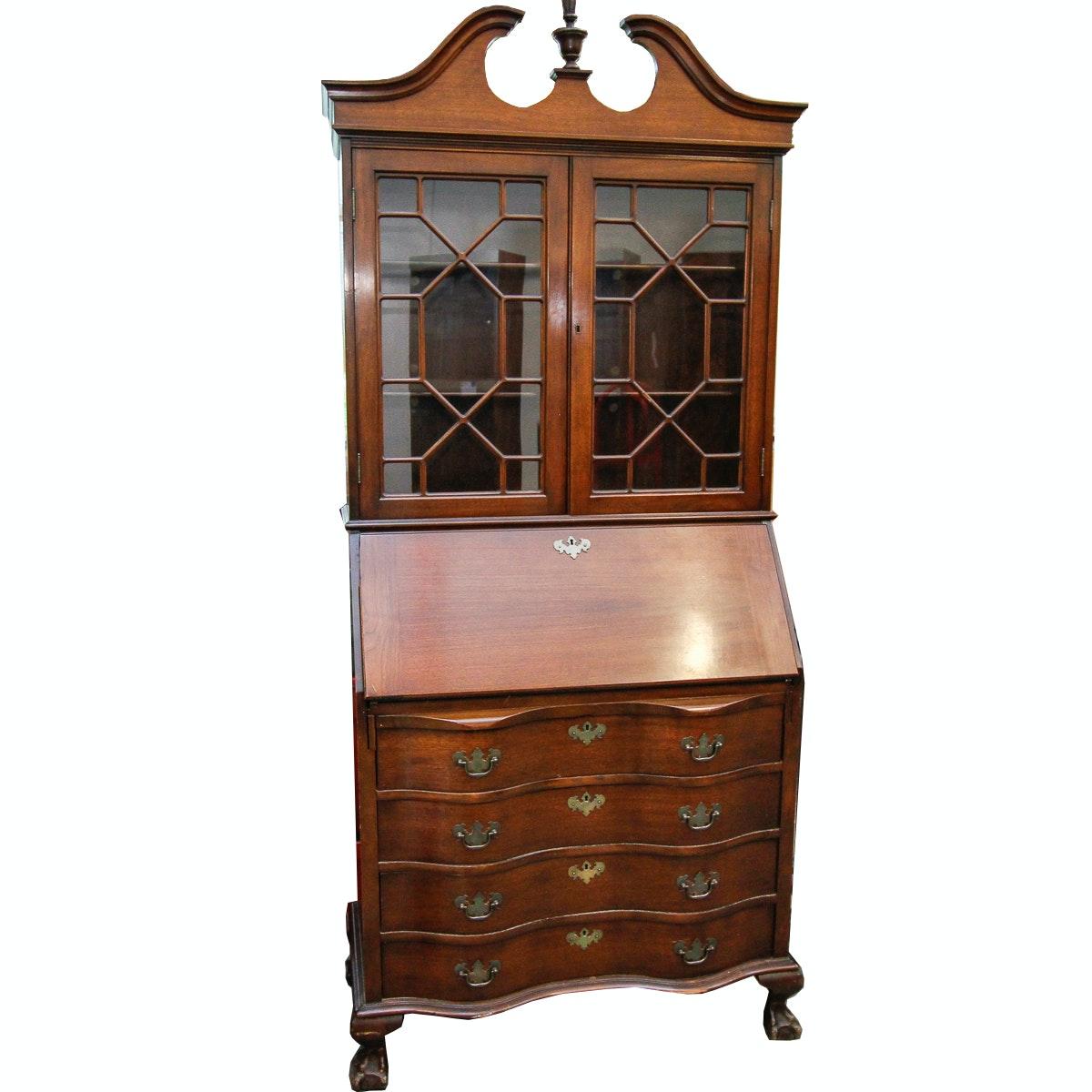 Chippendale Style Mahogany Secretary Desk