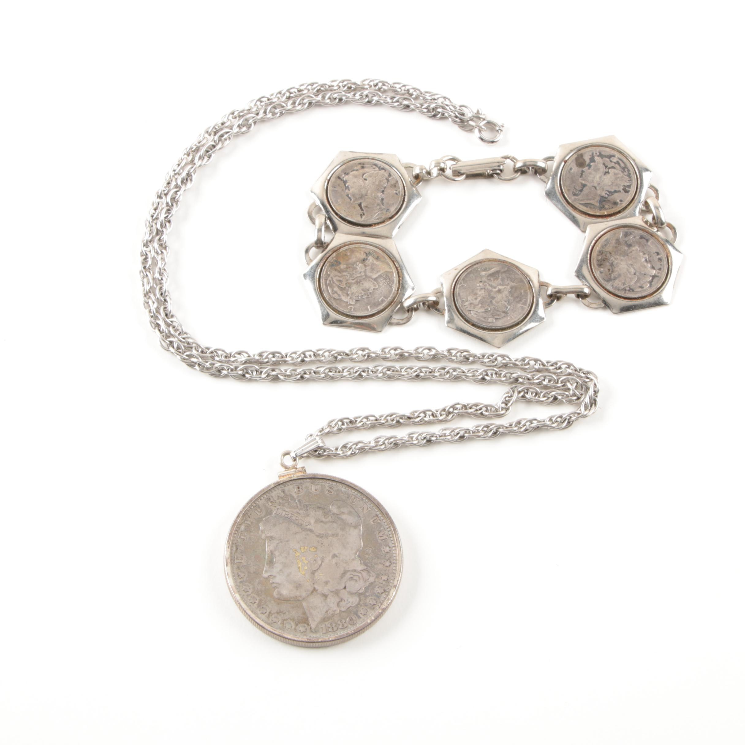 Sterling Silver Necklace and Costume Bracelet with Coins
