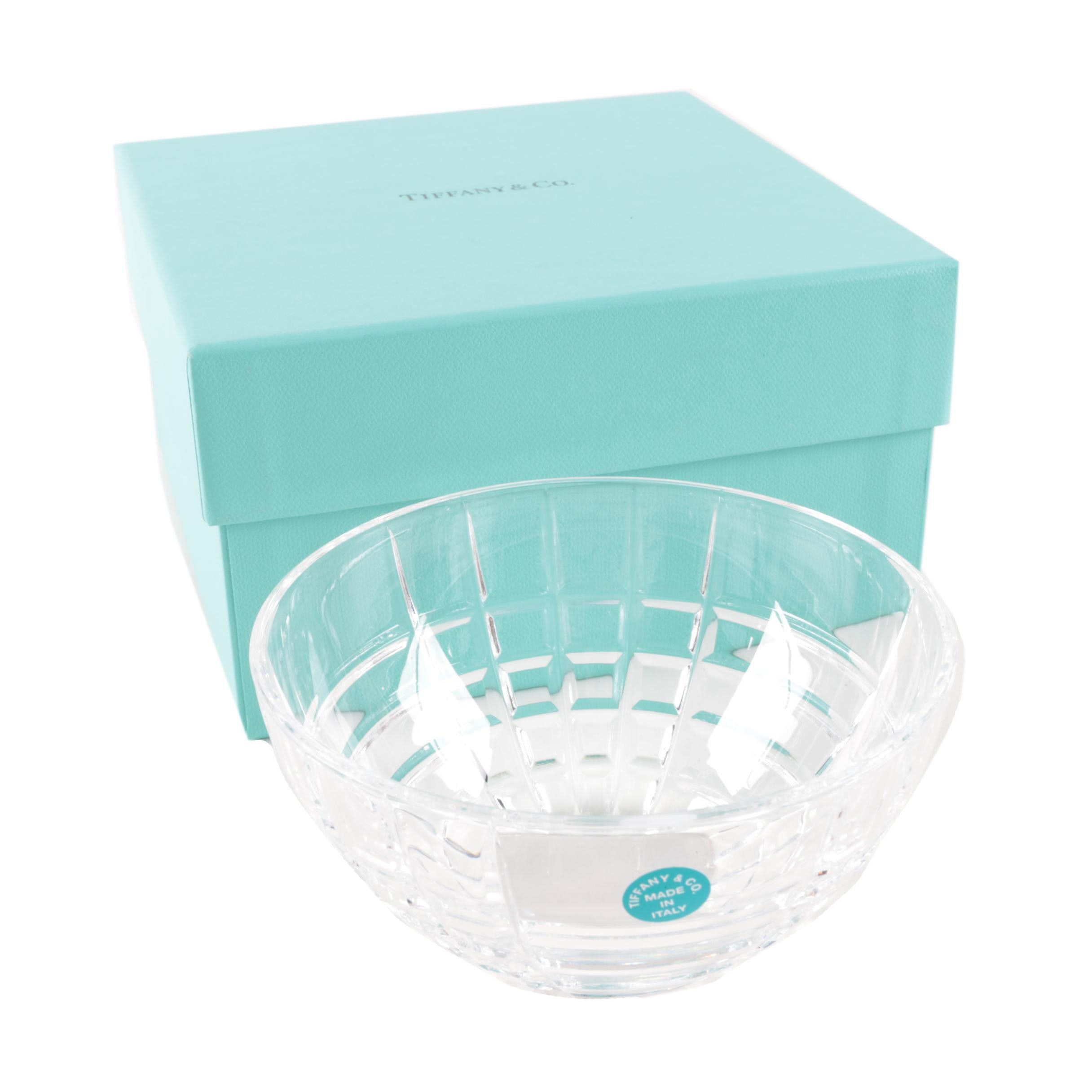 "Tiffany & Co. ""Plaid"" Crystal Bowl"