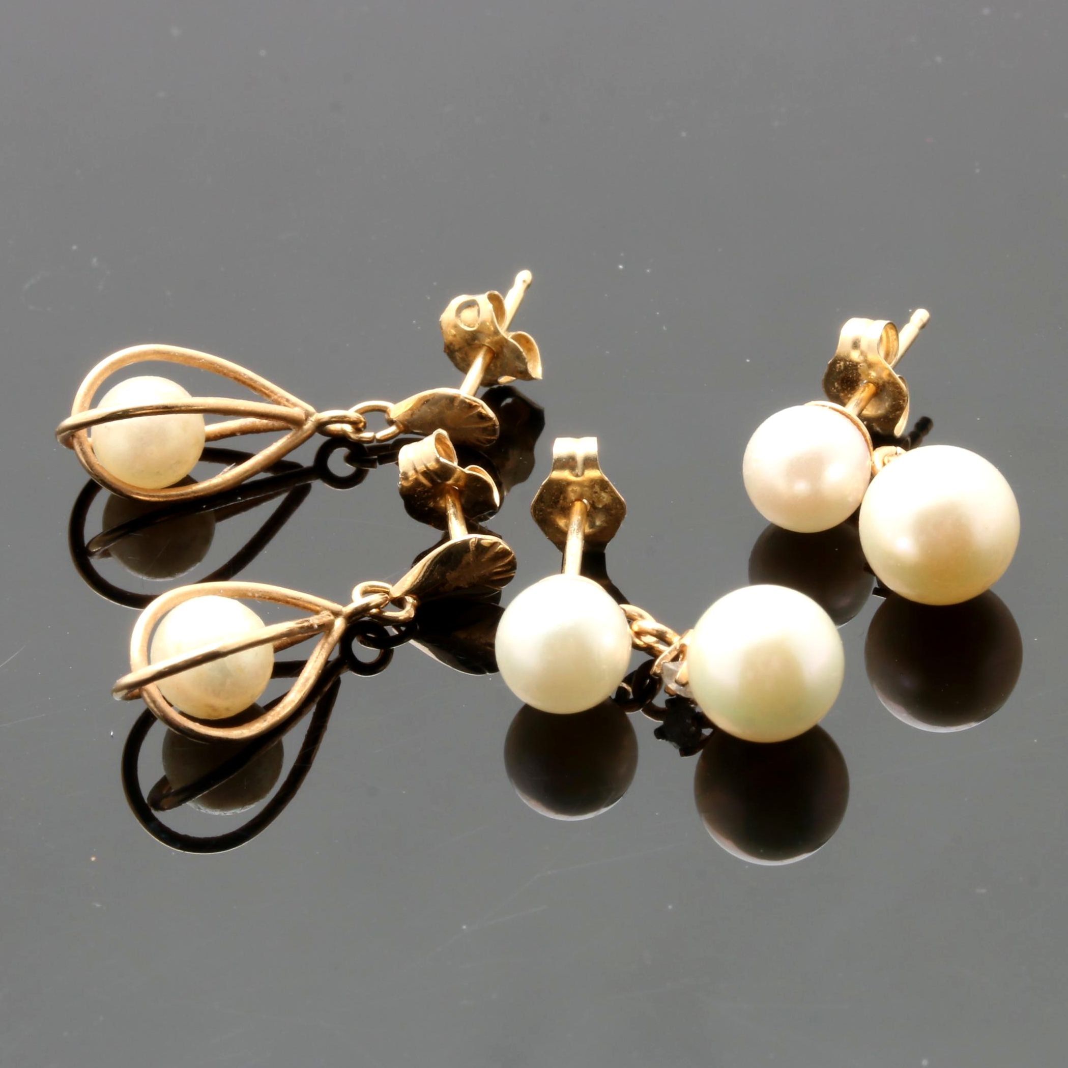 14K Yellow Gold Pearl and Diamond Earring Selection