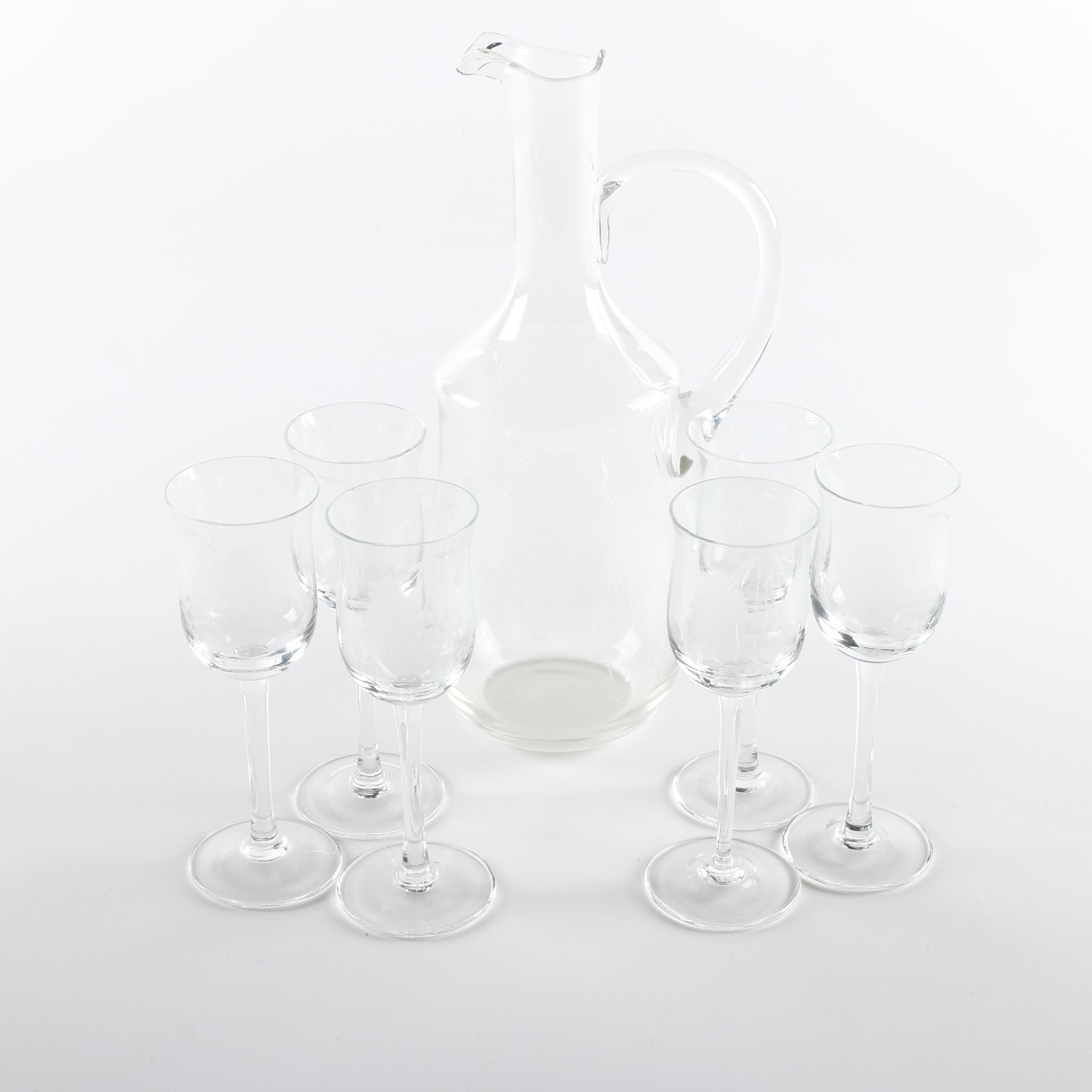Blown Glass Decanter with Etched Cordial Glasses