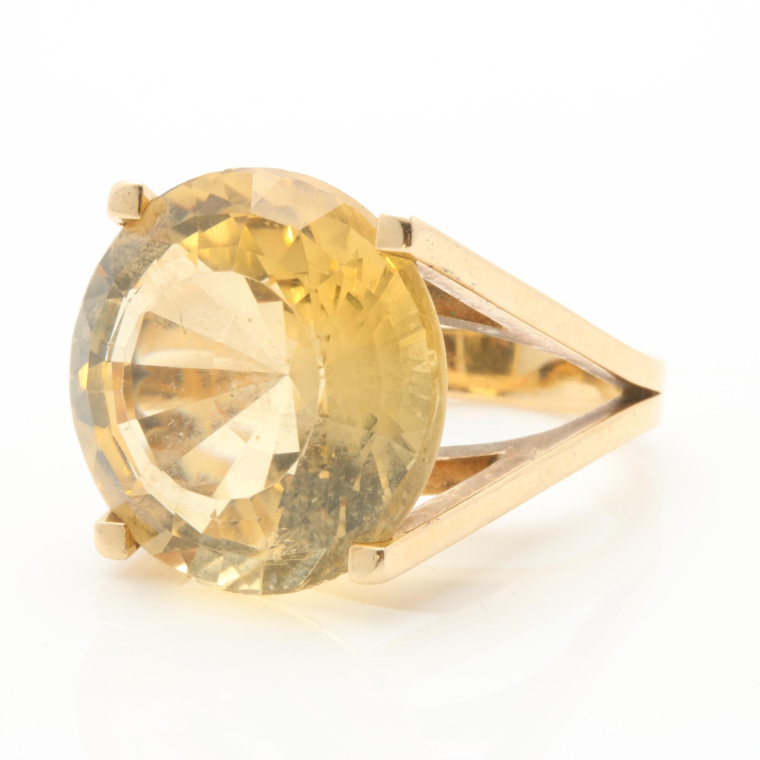 14K Yellow Gold 22.58 CT Citrine Ring