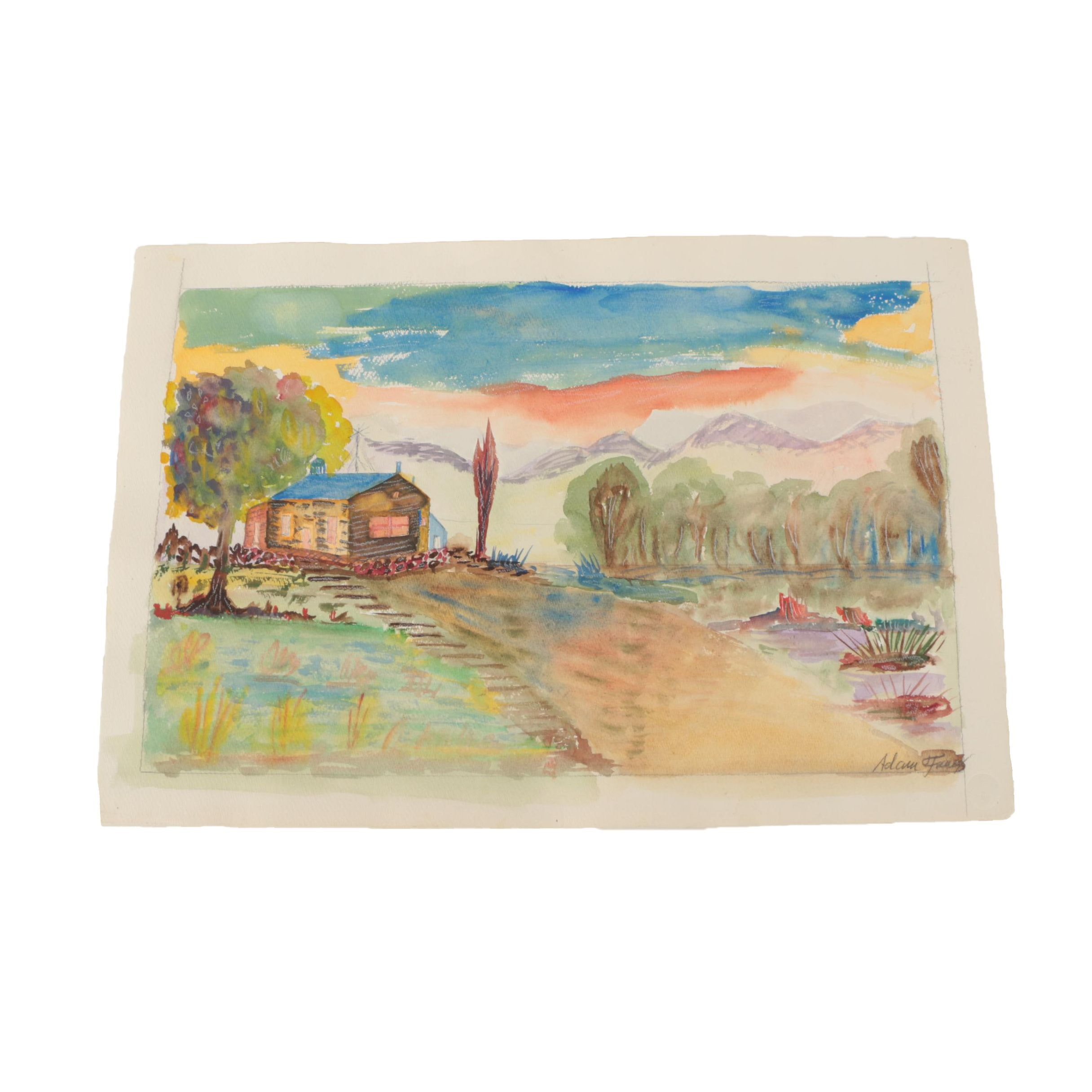 Watercolor Painting of Colorful Landscape